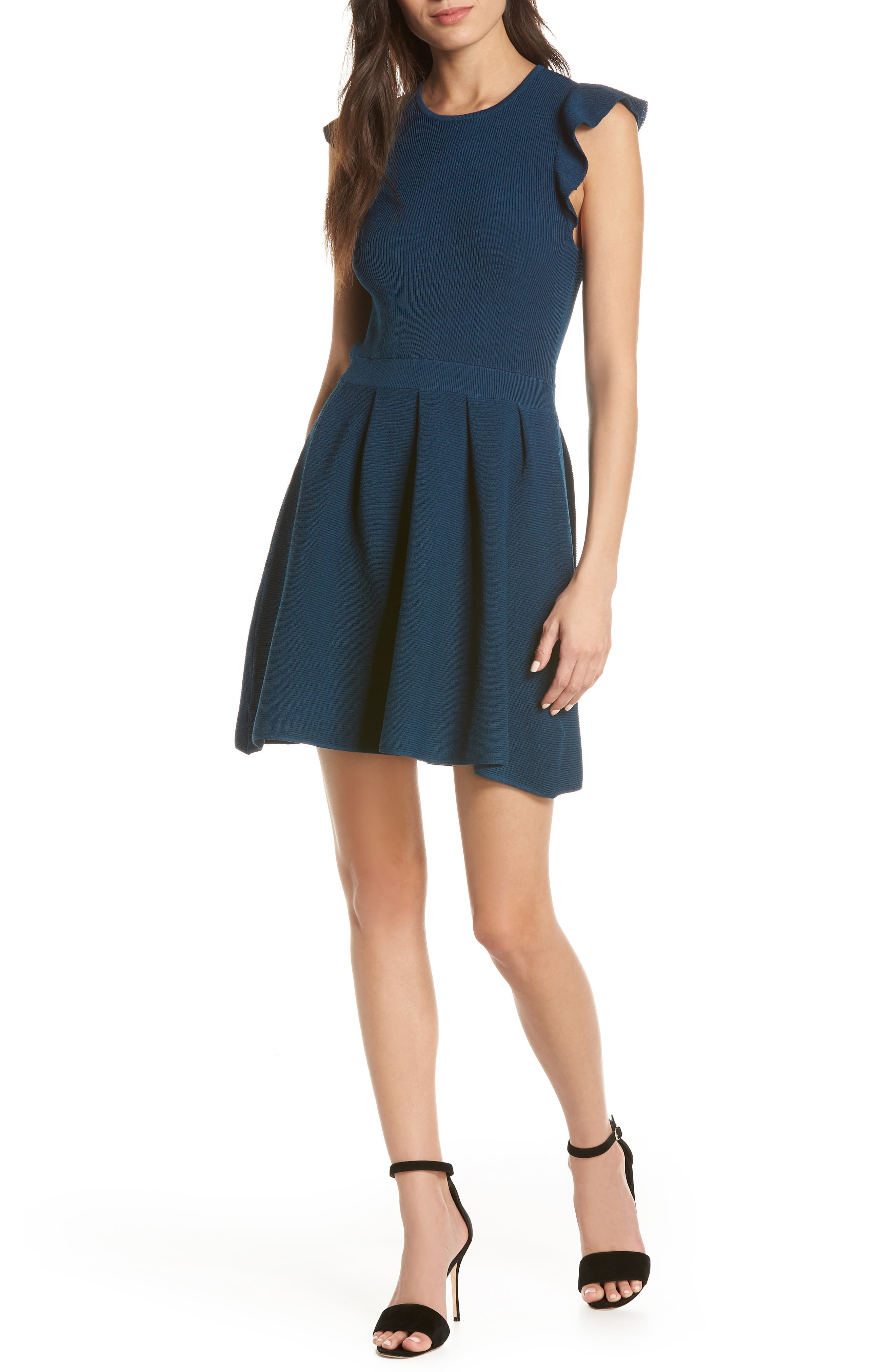 ALI & JAY Rib Sweater Dress, Main, color, TEAL
