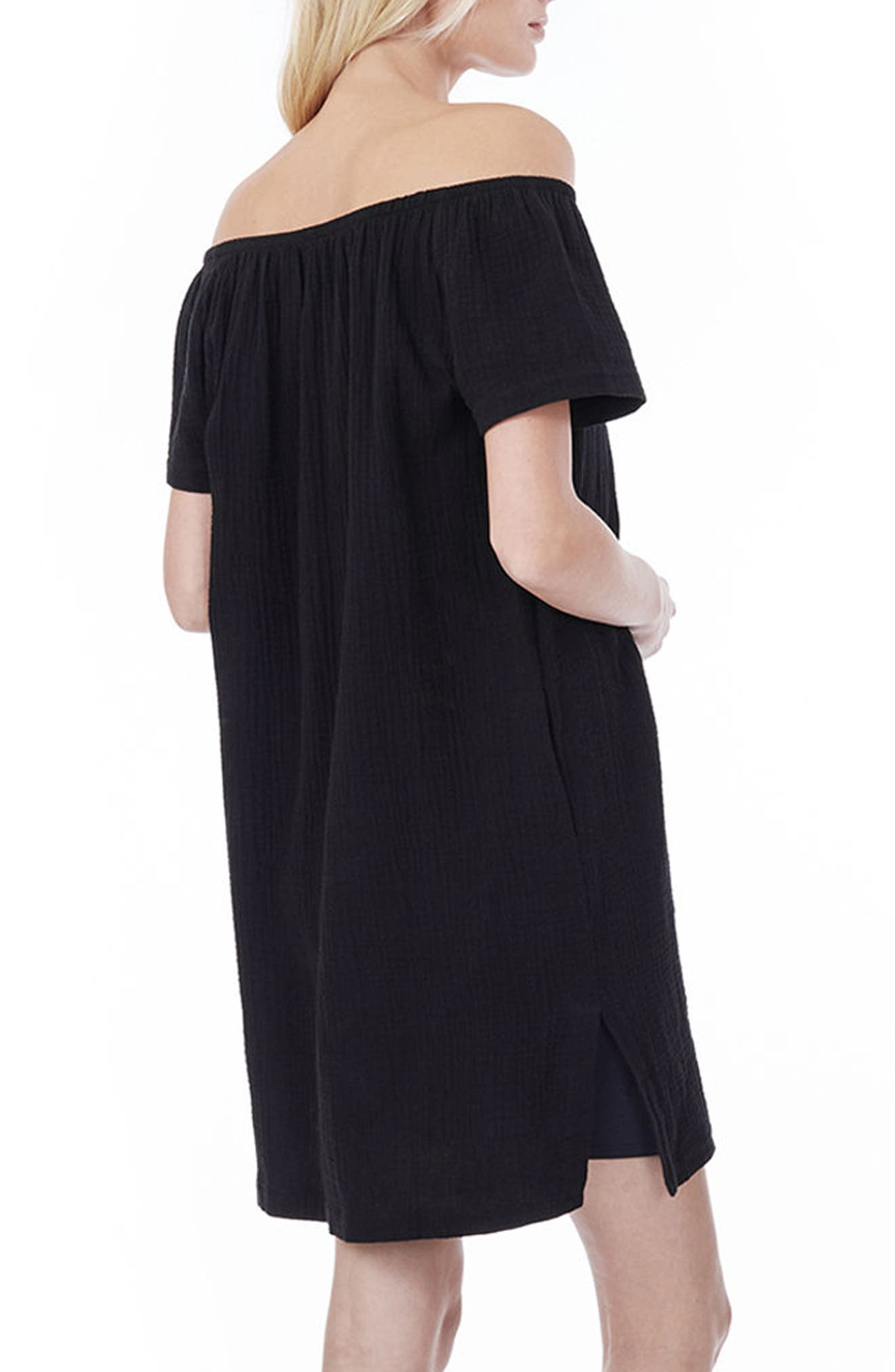 LOYAL HANA, Ariel Off The Shoulder Maternity/Nursing Dress, Alternate thumbnail 2, color, BLACK