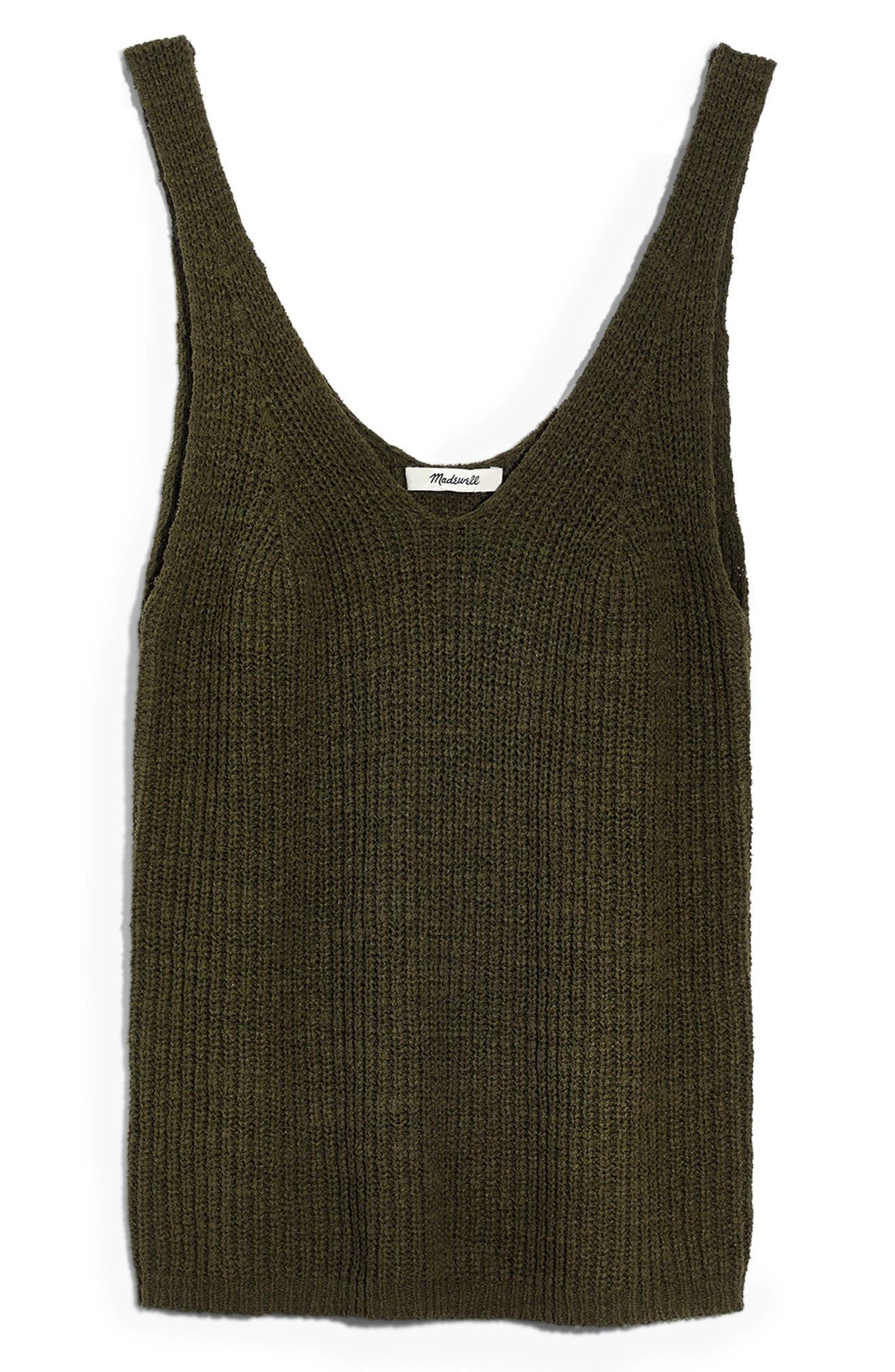MADEWELL, Monterey Sweater Tank, Alternate thumbnail 3, color, DARK OLIVE