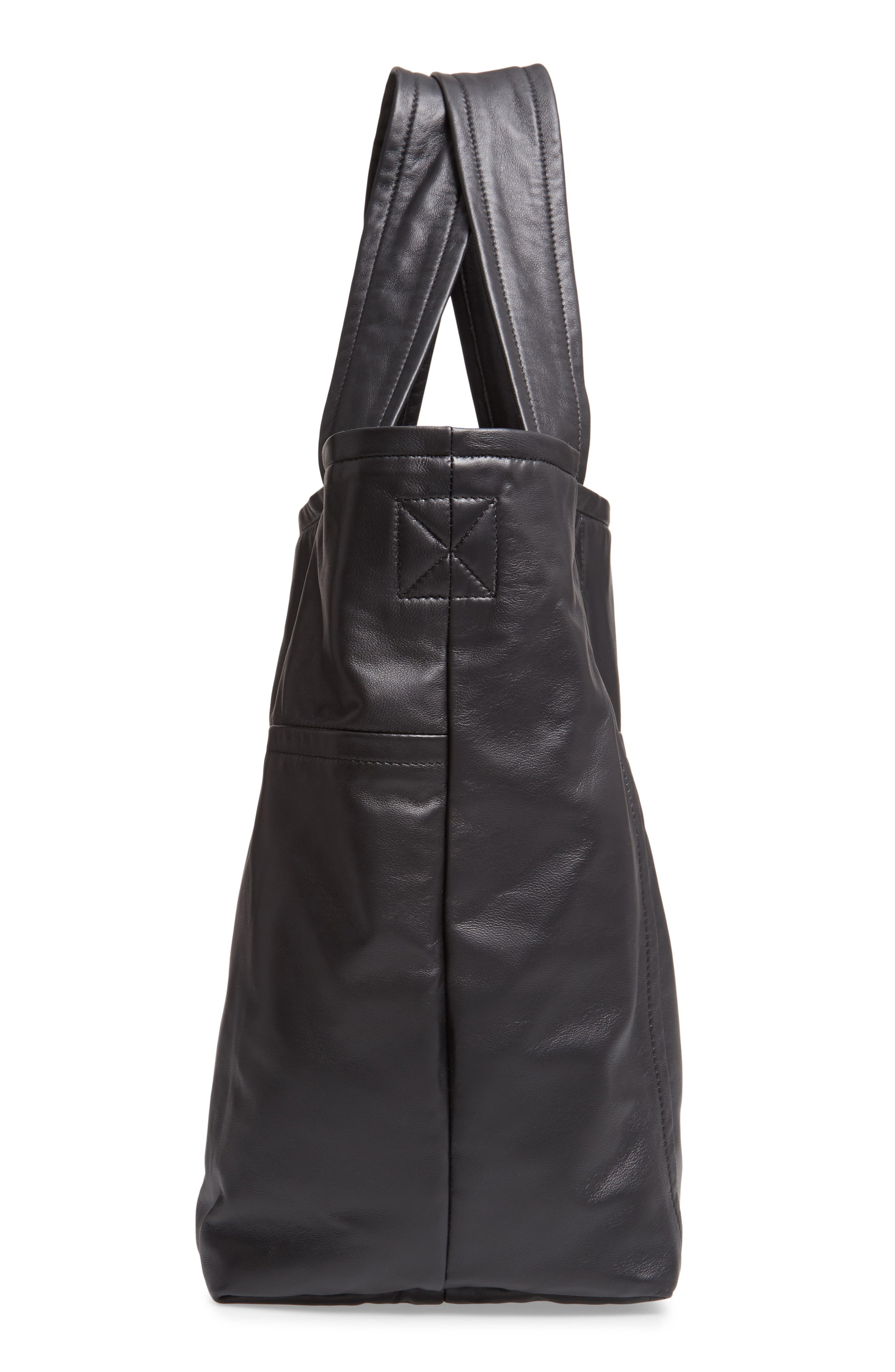 VICTORIA BECKHAM, Sunday Leather Tote Bag, Alternate thumbnail 5, color, 001
