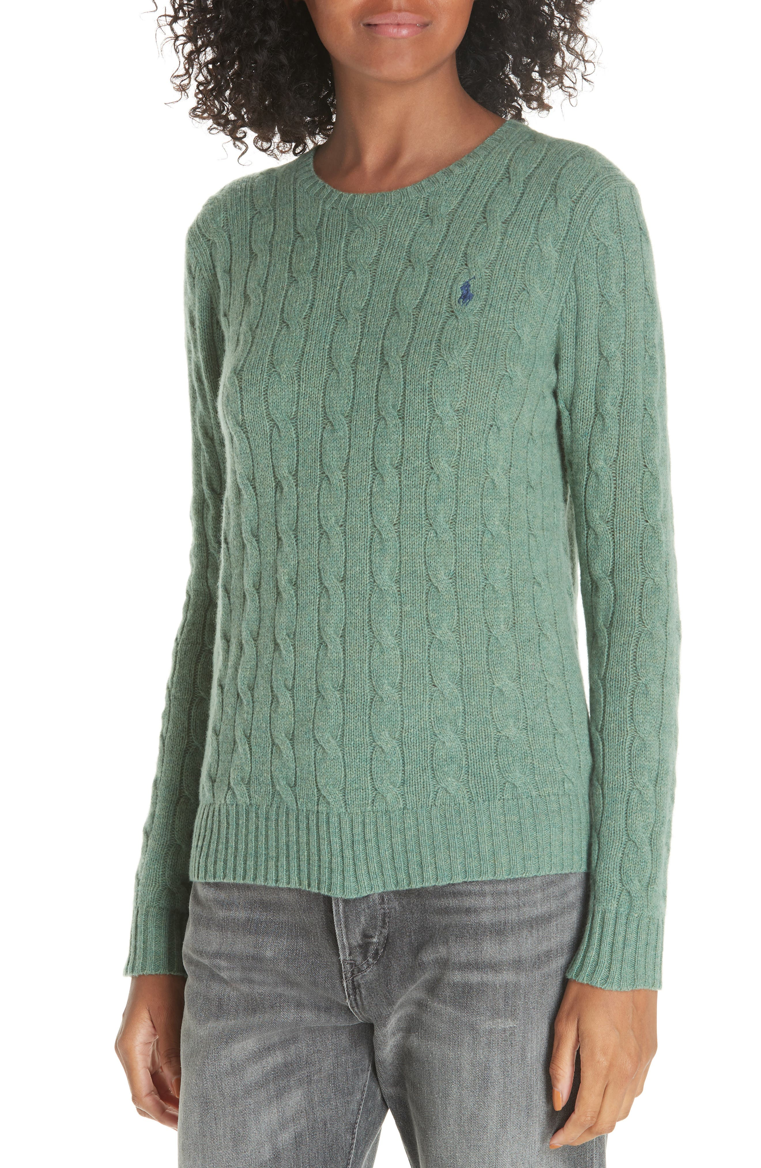 POLO RALPH LAUREN, Cable Knit Cotton Sweater, Alternate thumbnail 4, color, 300