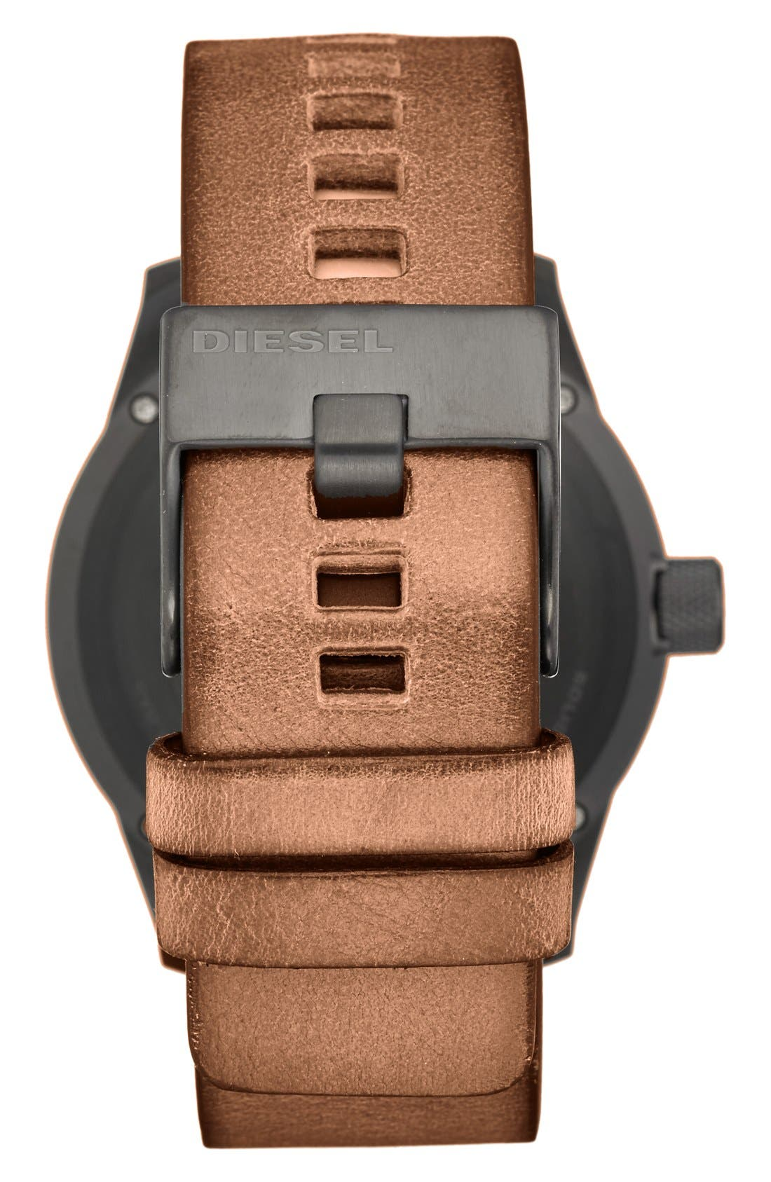 DIESEL<SUP>®</SUP>, 'The Rasp' Leather Strap Watch, 46mm, Alternate thumbnail 2, color, BLACK