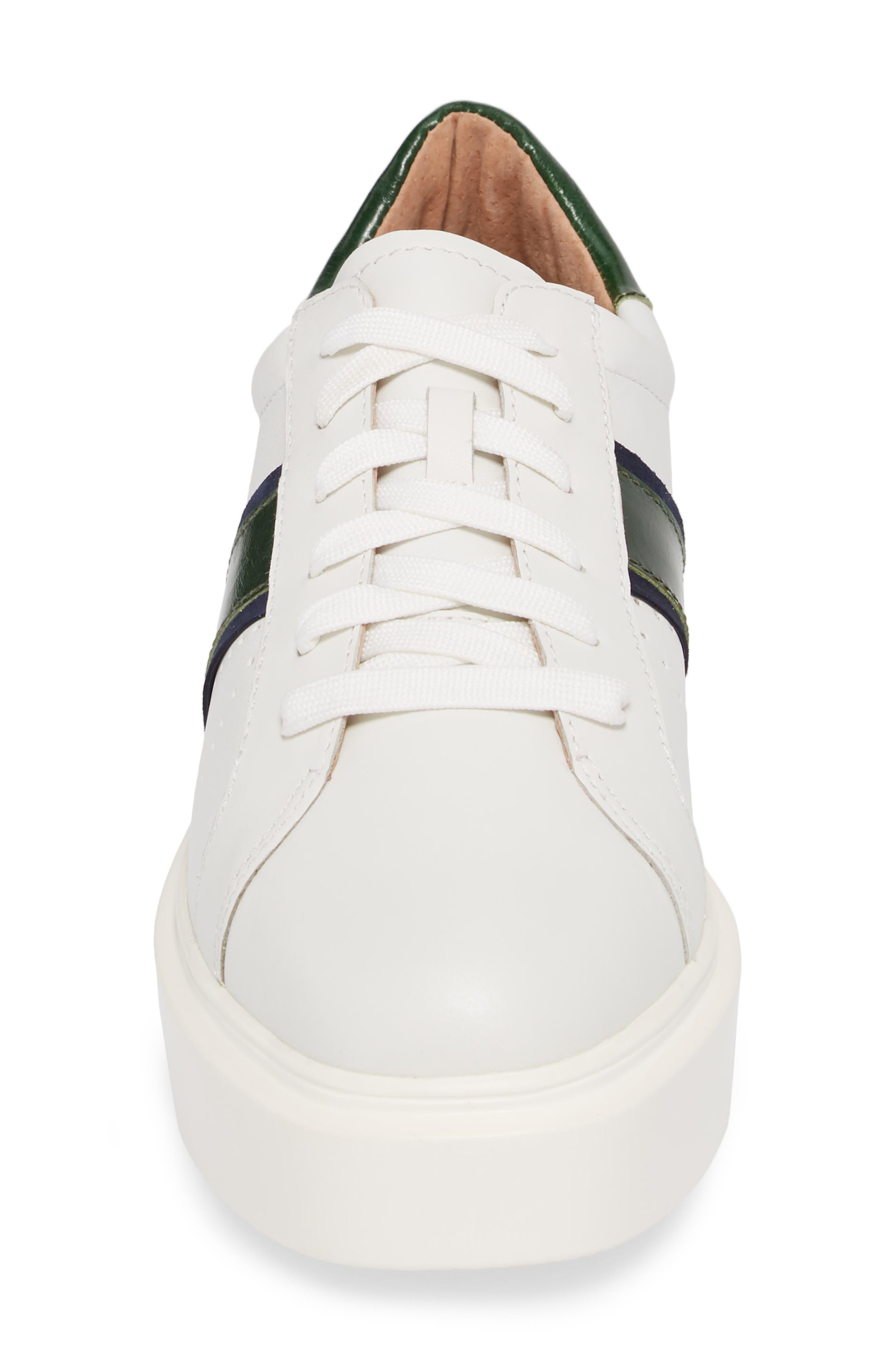 LINEA PAOLO, Knox Platform Sneaker, Alternate thumbnail 4, color, WHITE LEATHER