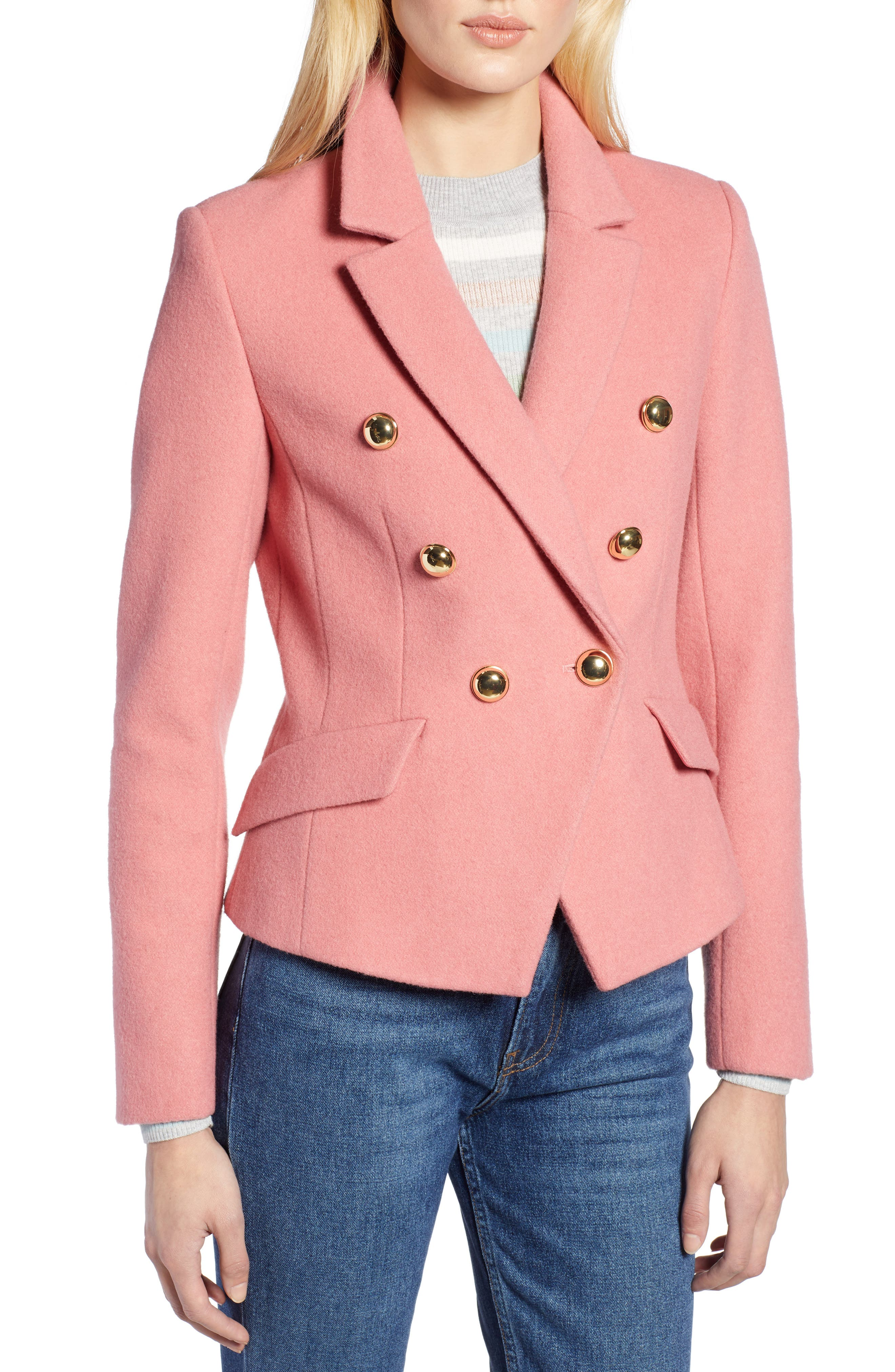 HALOGEN<SUP>®</SUP>, x Atlantic-Pacific Double Breasted Wool Blend Blazer, Alternate thumbnail 6, color, 660