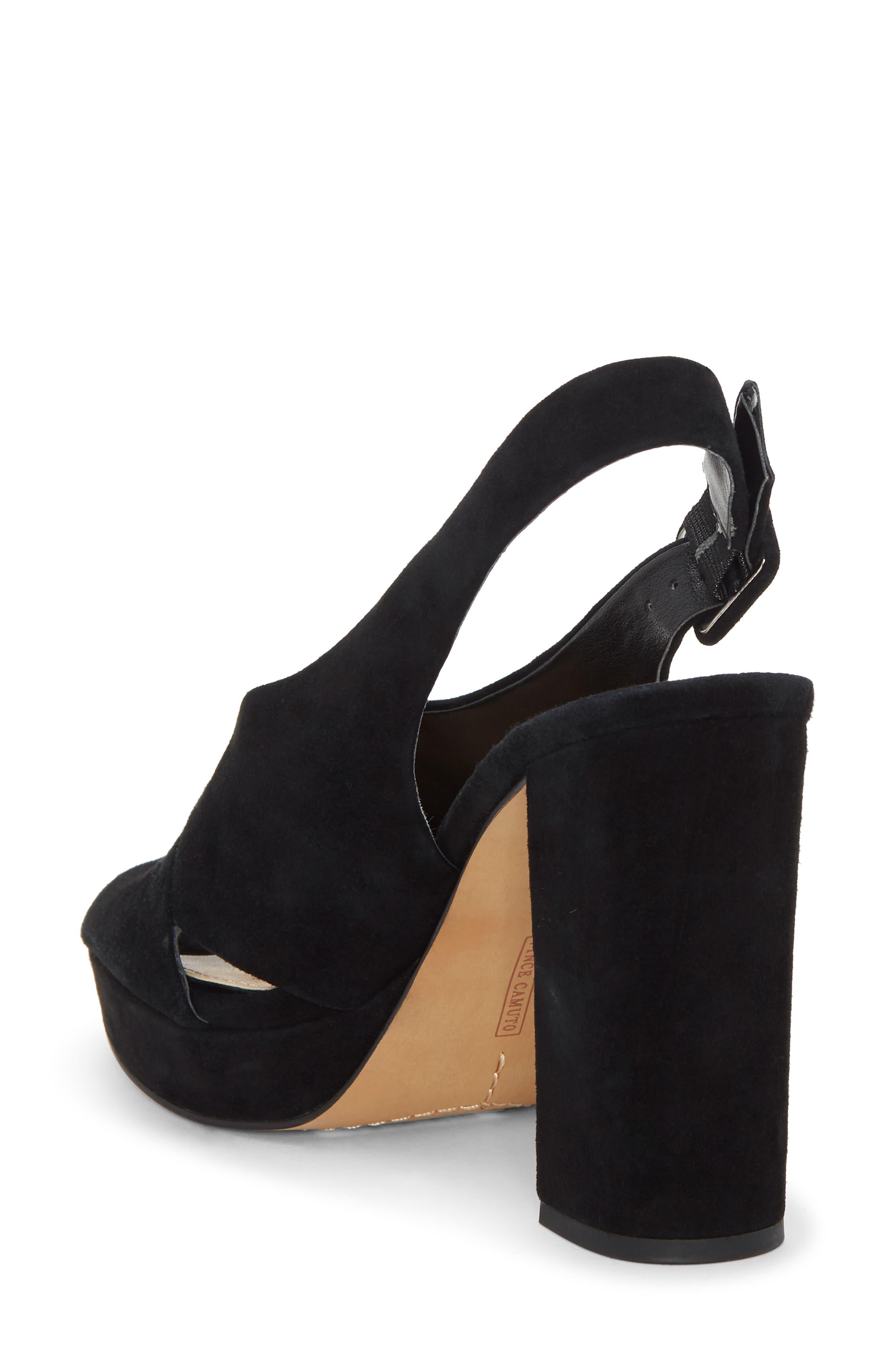 VINCE CAMUTO, Slingback Platform Sandal, Alternate thumbnail 2, color, BLACK 01 SUEDE