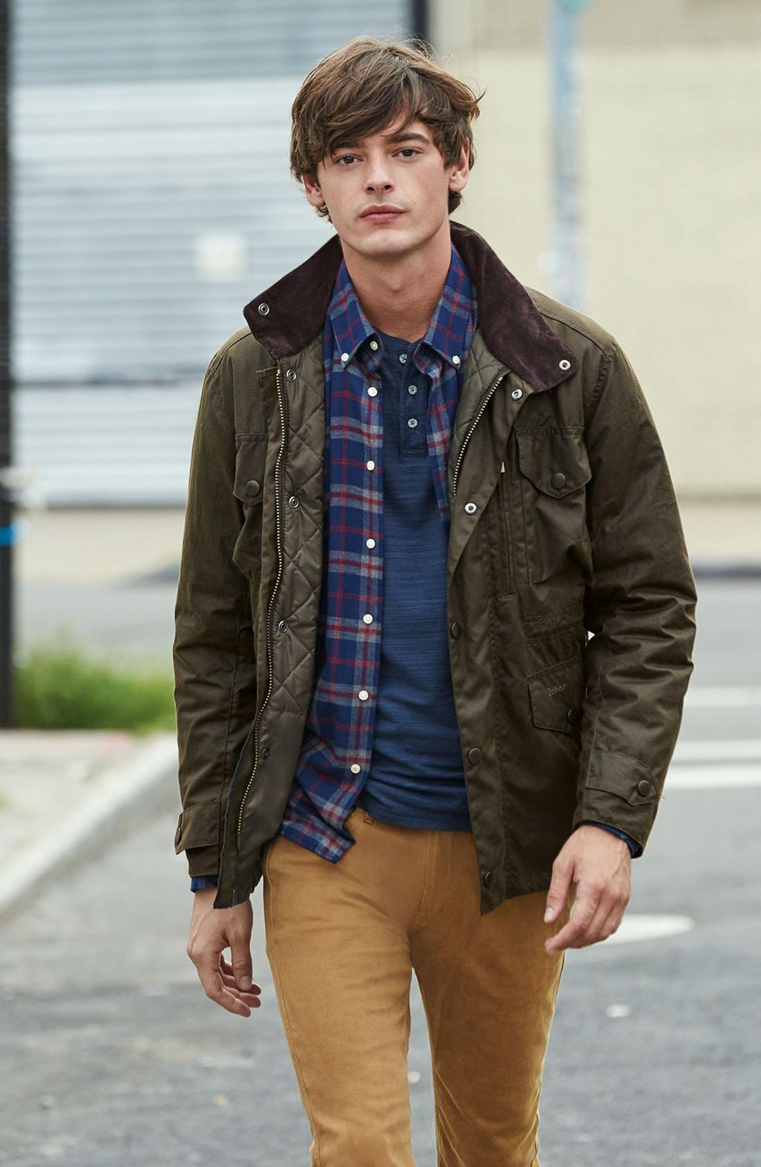 BARBOUR, Sapper Regular Fit Weatherproof Waxed Cotton Jacket, Alternate thumbnail 8, color, OLIVE