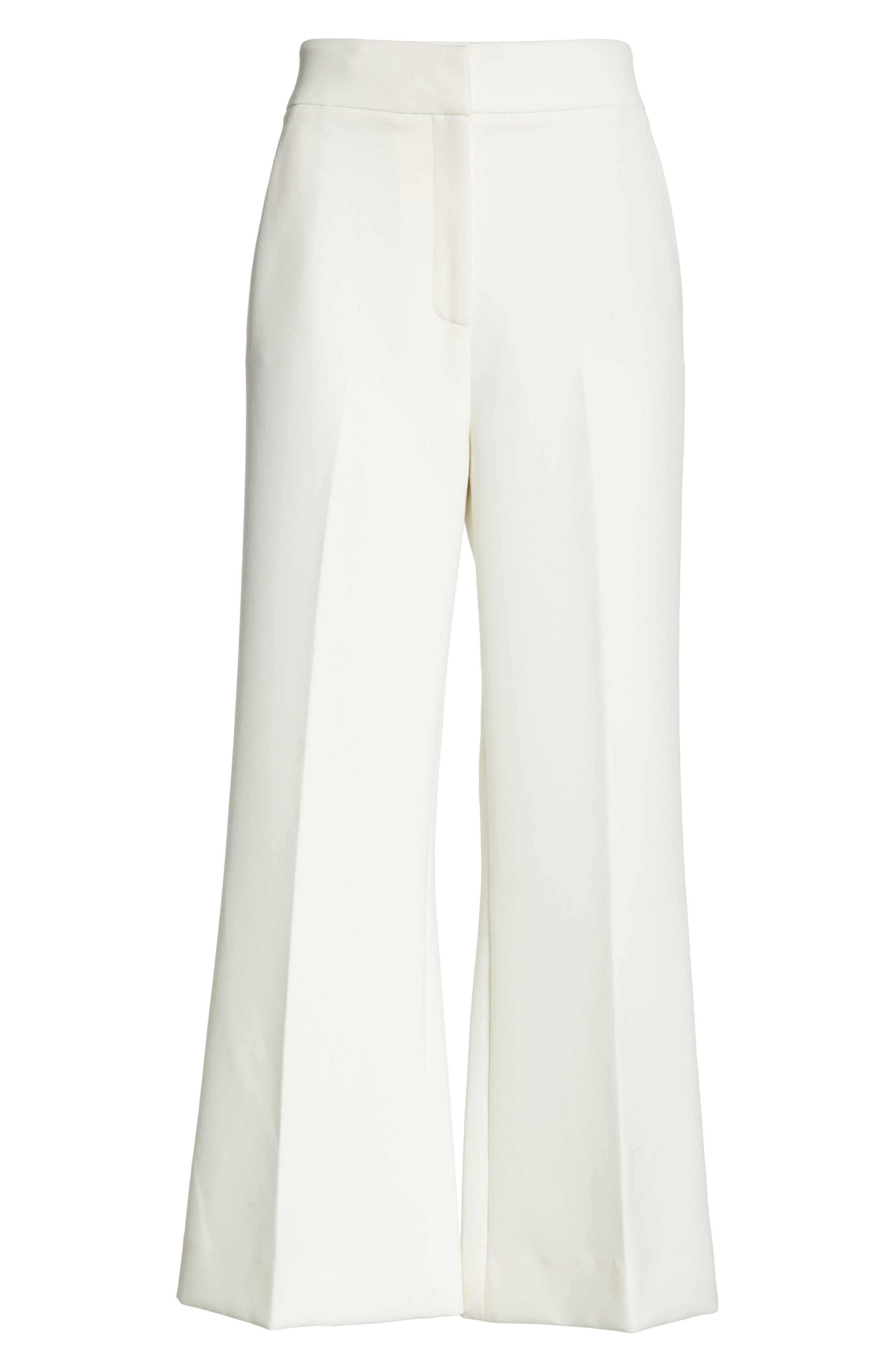 ST. JOHN COLLECTION, Bella Double Weave Crop Flare Pants, Alternate thumbnail 6, color, CREAM