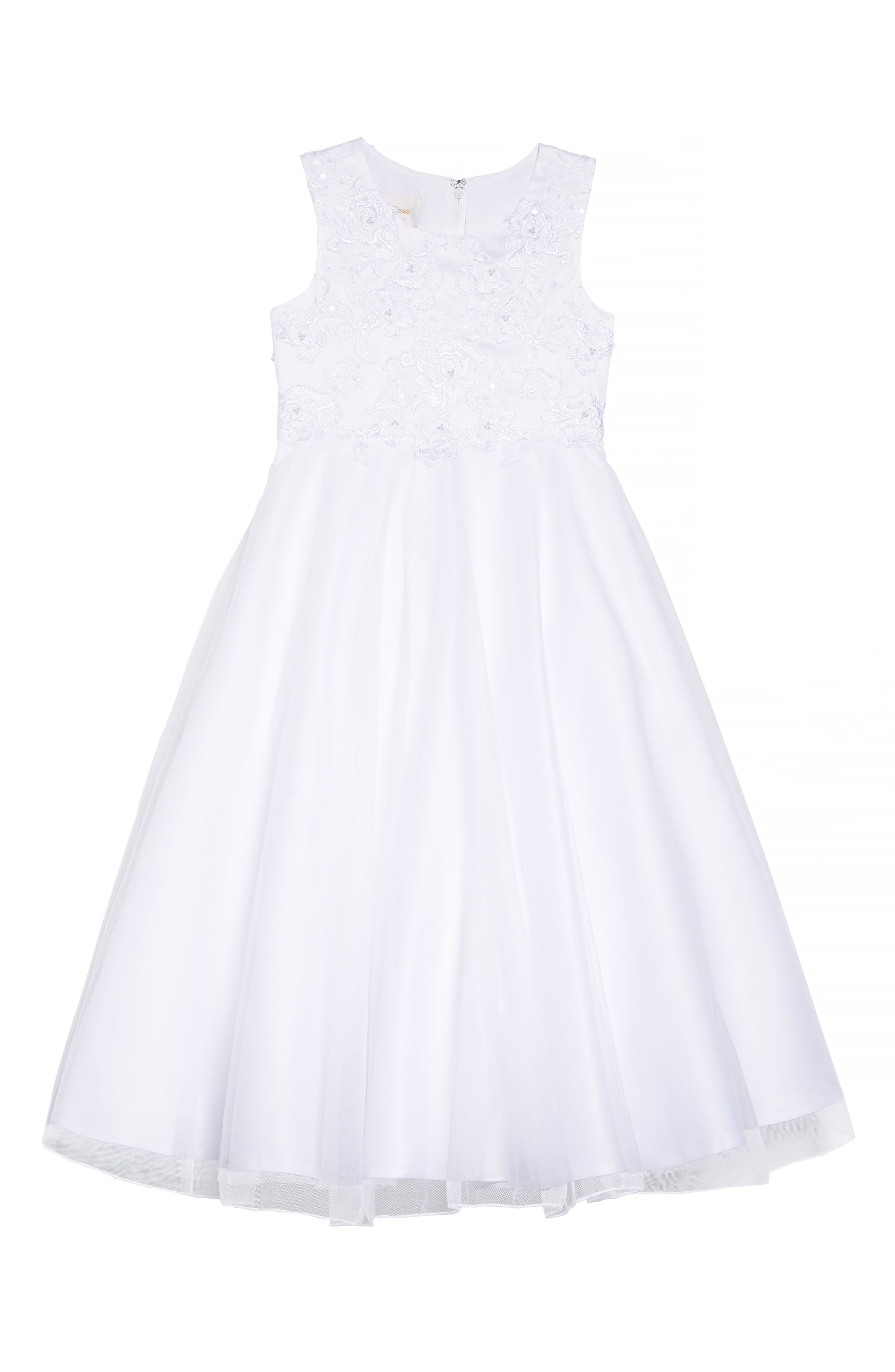 LAUREN MARIE, Embroidered Bodice Tulle Dress, Main thumbnail 1, color, WHITE