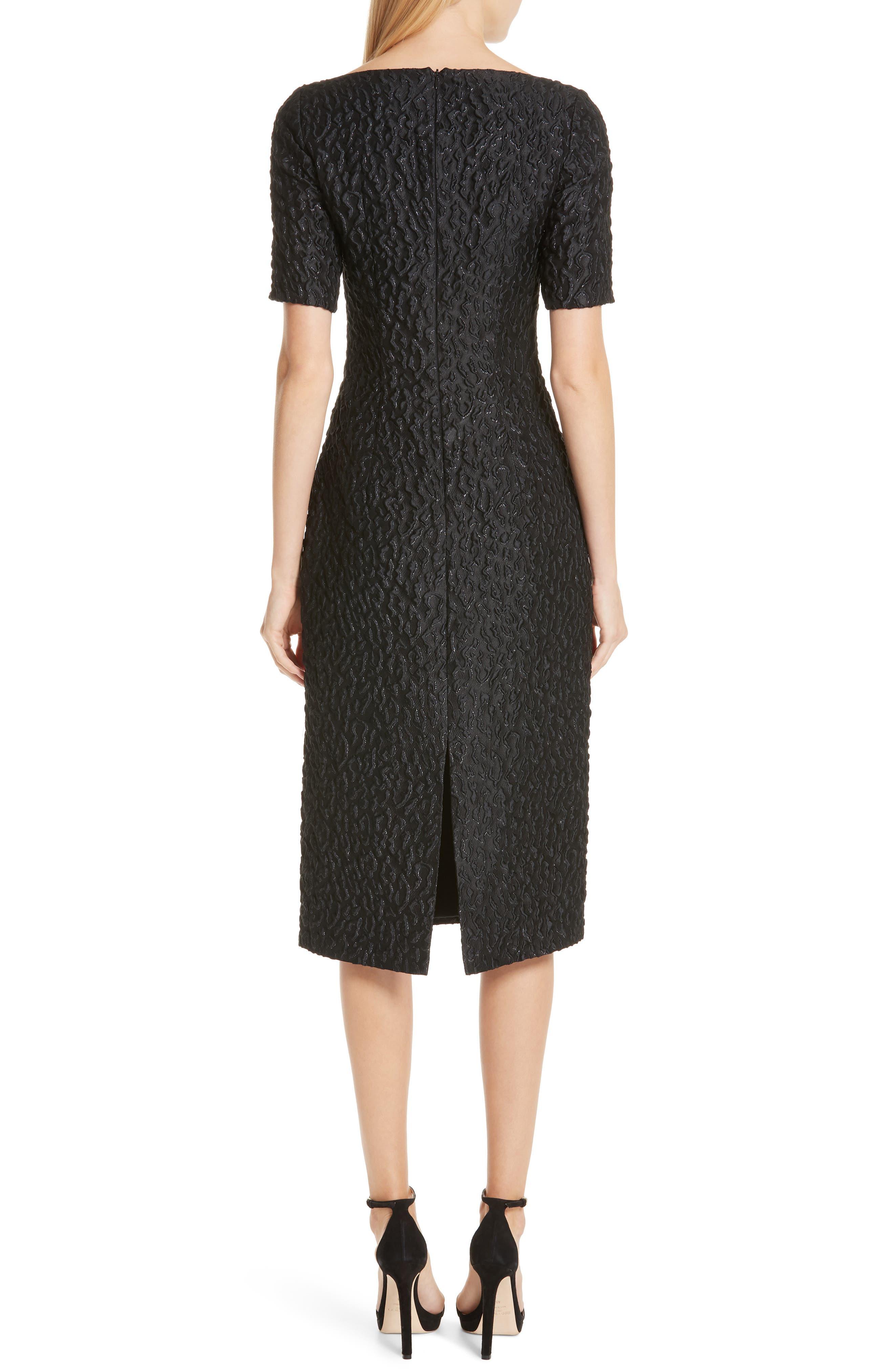 BRANDON MAXWELL, Leopard Jacquard Sheath Dress, Alternate thumbnail 2, color, BLACK