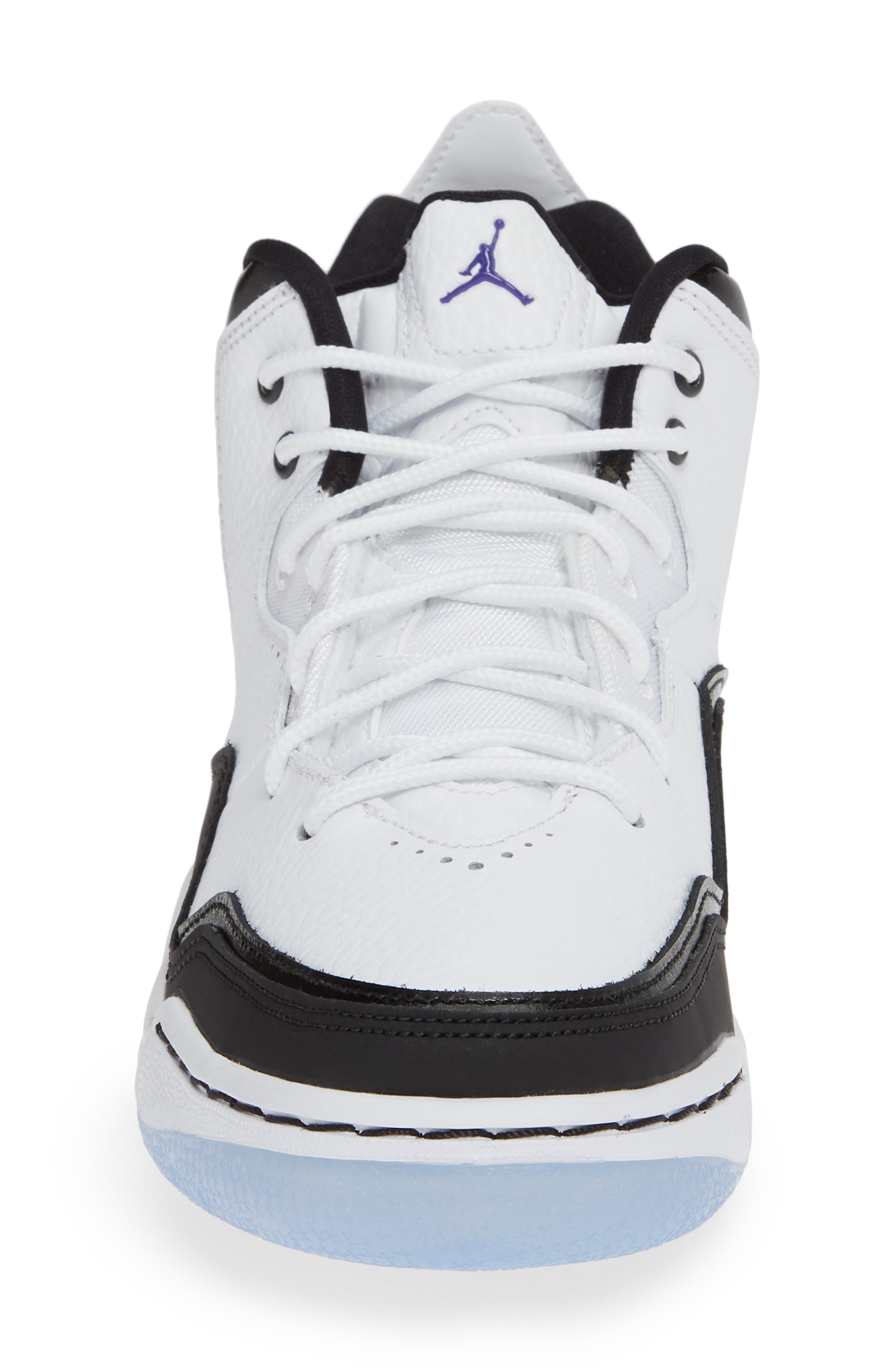 JORDAN, Nike Air Jordan Courtside 23 Sneaker, Alternate thumbnail 4, color, WHITE/ CONCORD BLACK
