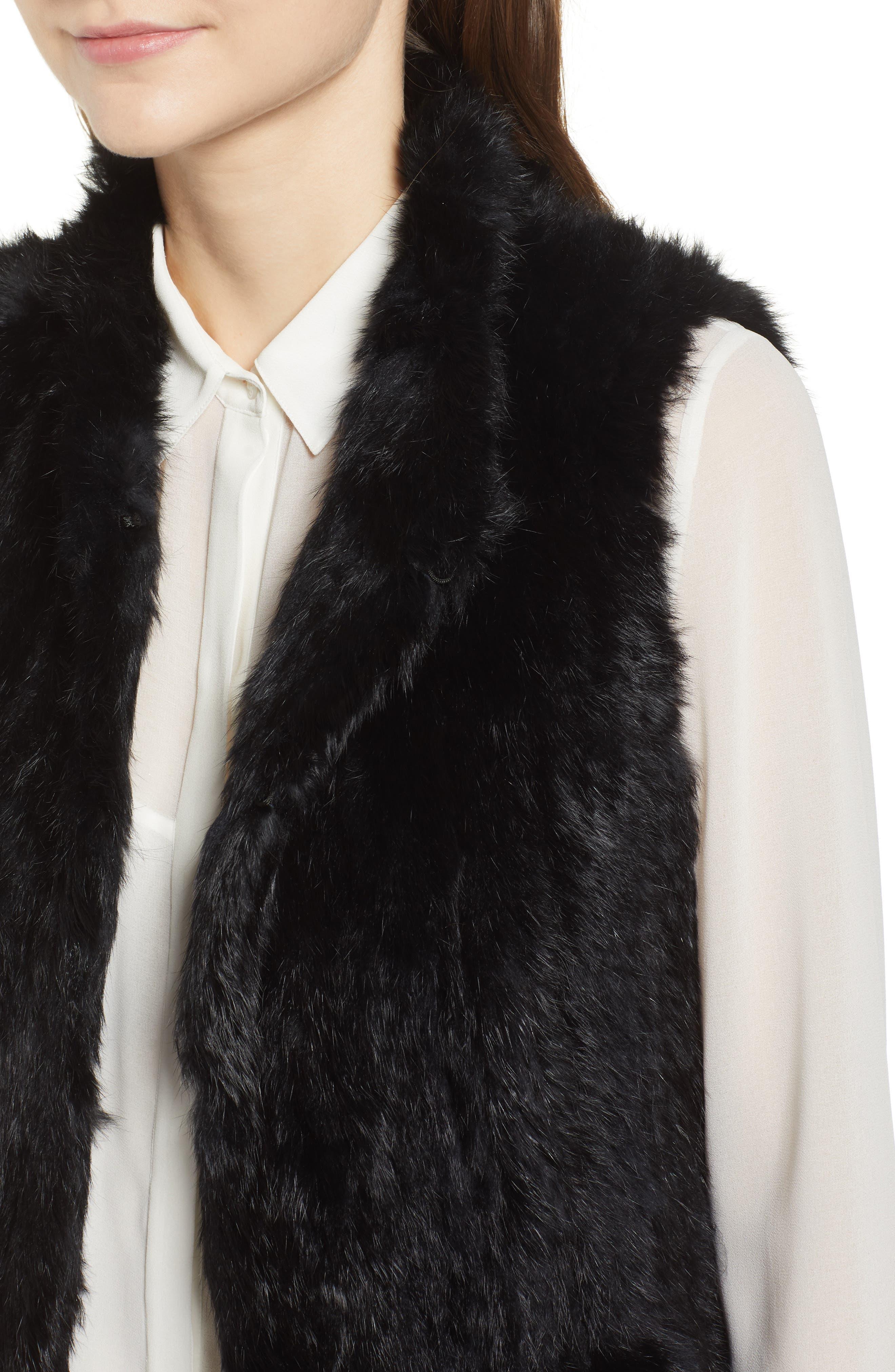 LOVE TOKEN, Long Colorblock Genuine Rabbit Fur Vest, Alternate thumbnail 5, color, 001