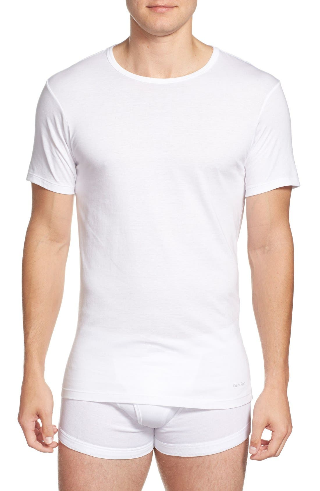 CALVIN KLEIN, Slim Fit 3-Pack Cotton T-Shirt, Main thumbnail 1, color, WHITE