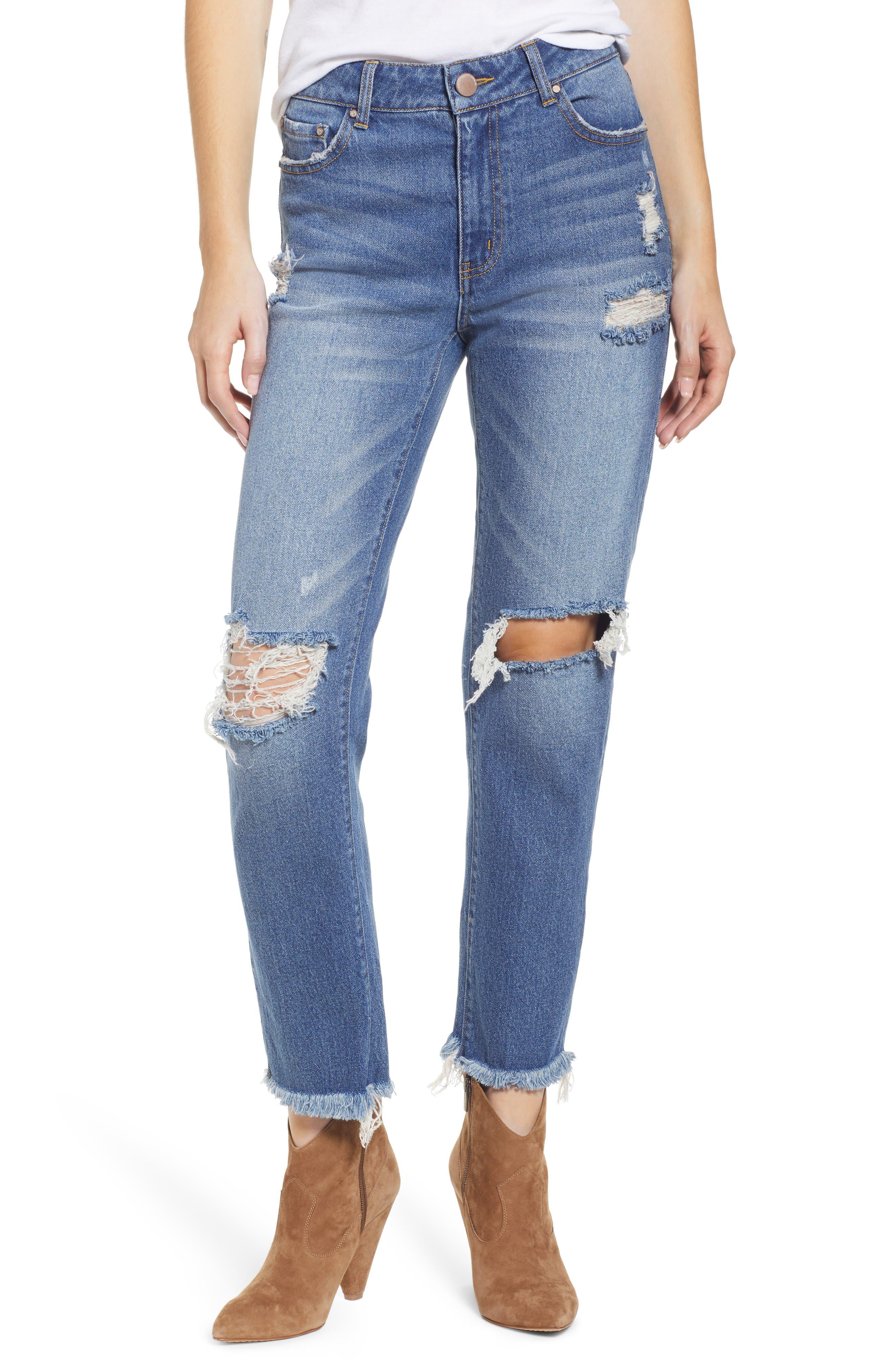 PROSPERITY DENIM, Ripped Ankle Straight Leg Jeans, Main thumbnail 1, color, VINTAGE WASH