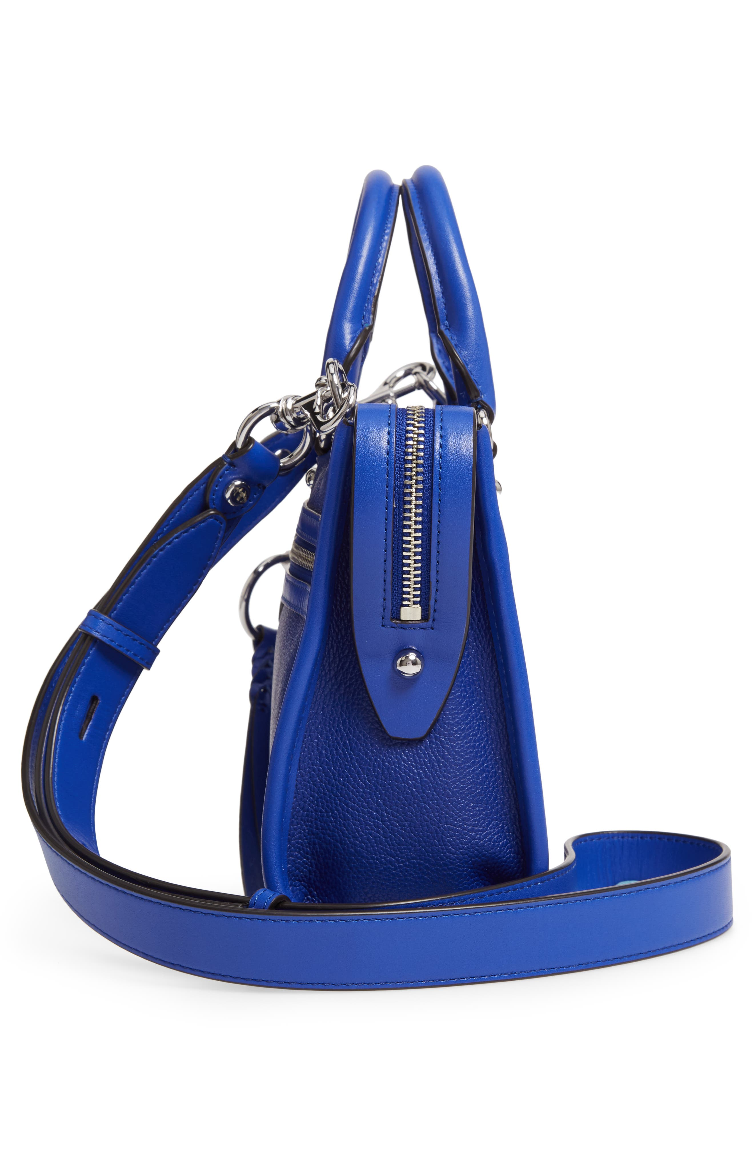 REBECCA MINKOFF, Micro Bedford Leather Satchel, Alternate thumbnail 6, color, BRIGHT BLUE