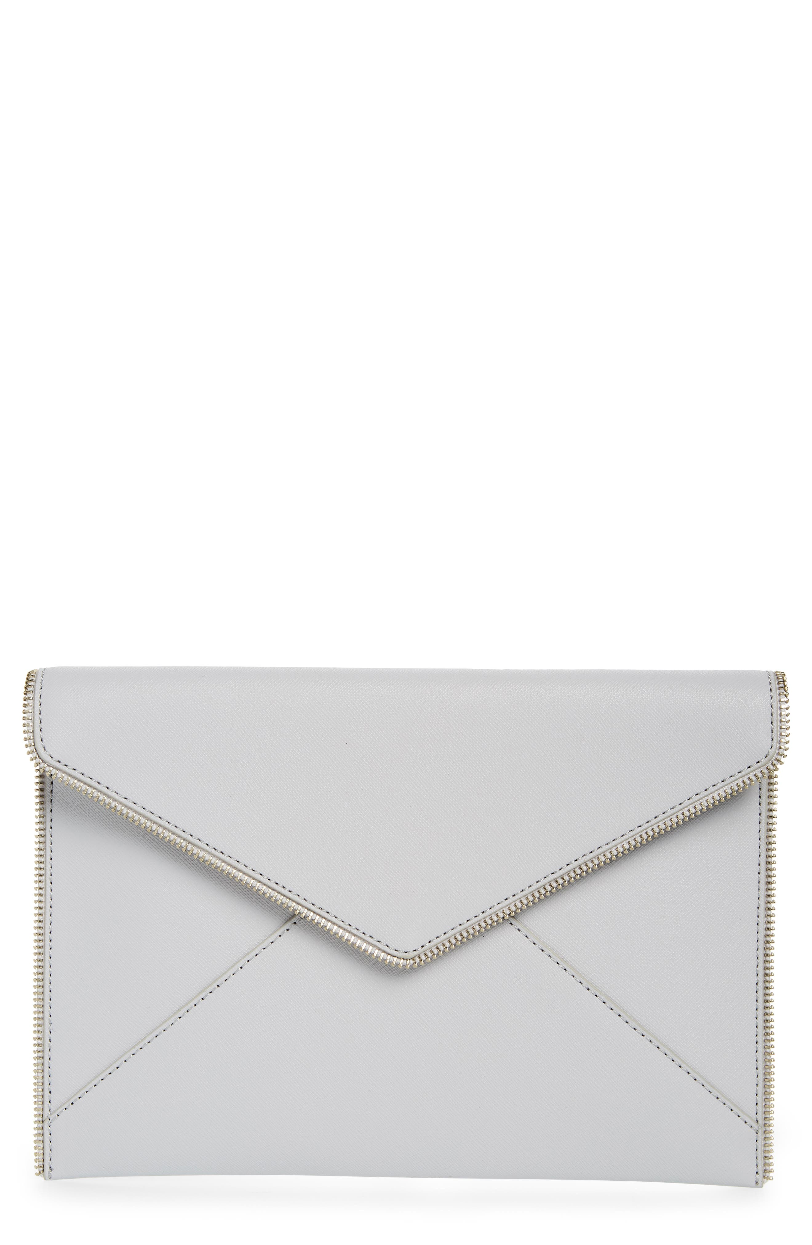 REBECCA MINKOFF, Leo Envelope Clutch, Main thumbnail 1, color, ICE GREY