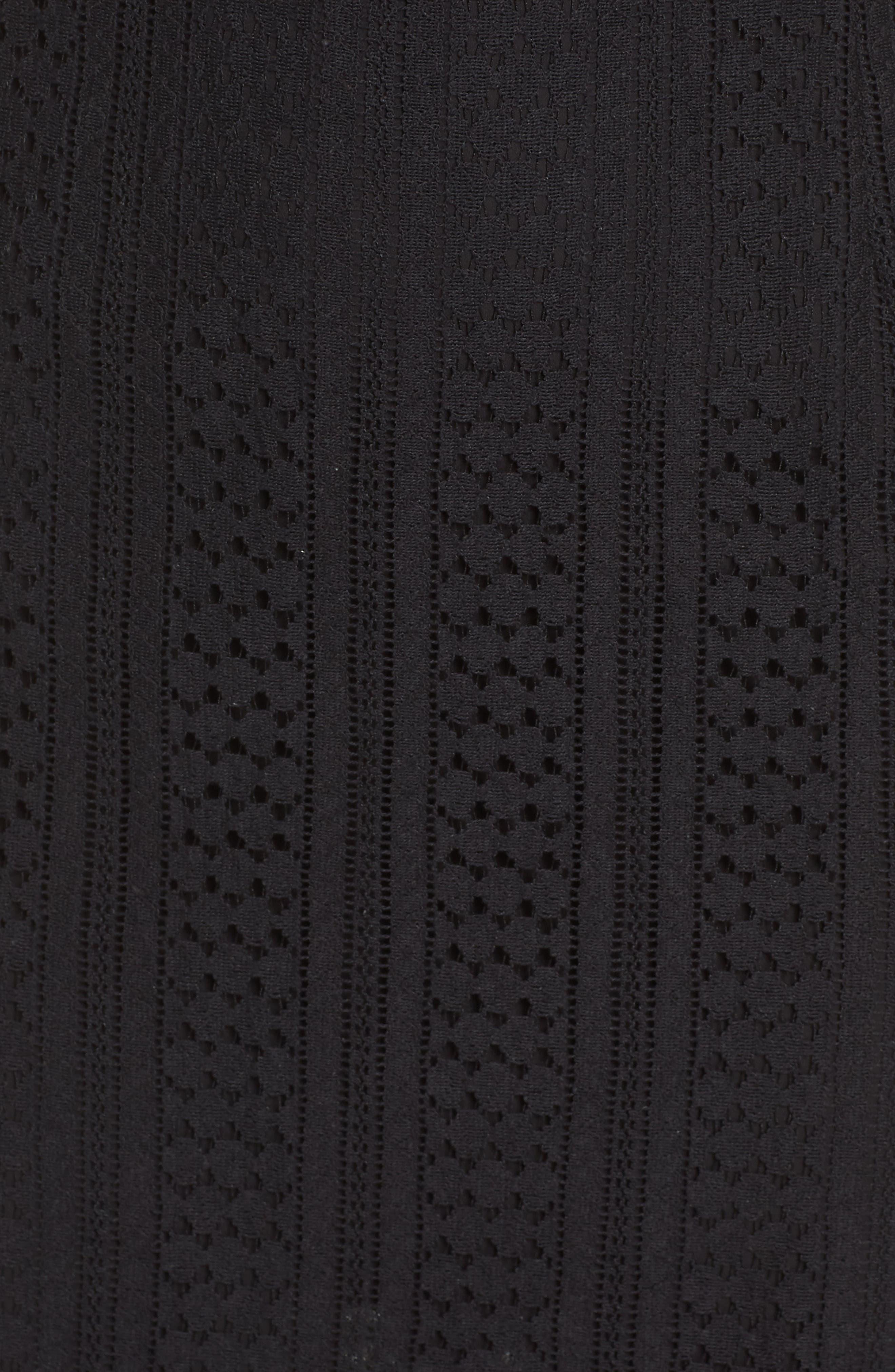 CHELSEA28, Lace & Swiss Dot Dress, Alternate thumbnail 6, color, 001