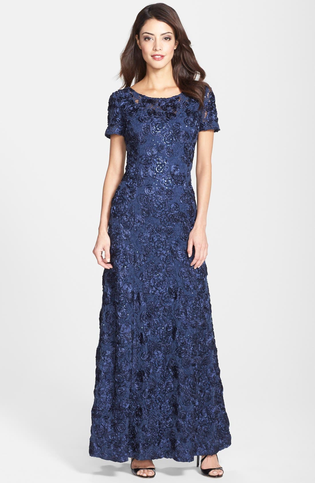 ALEX EVENINGS, Embellished Lace Gown, Main thumbnail 1, color, NAVY