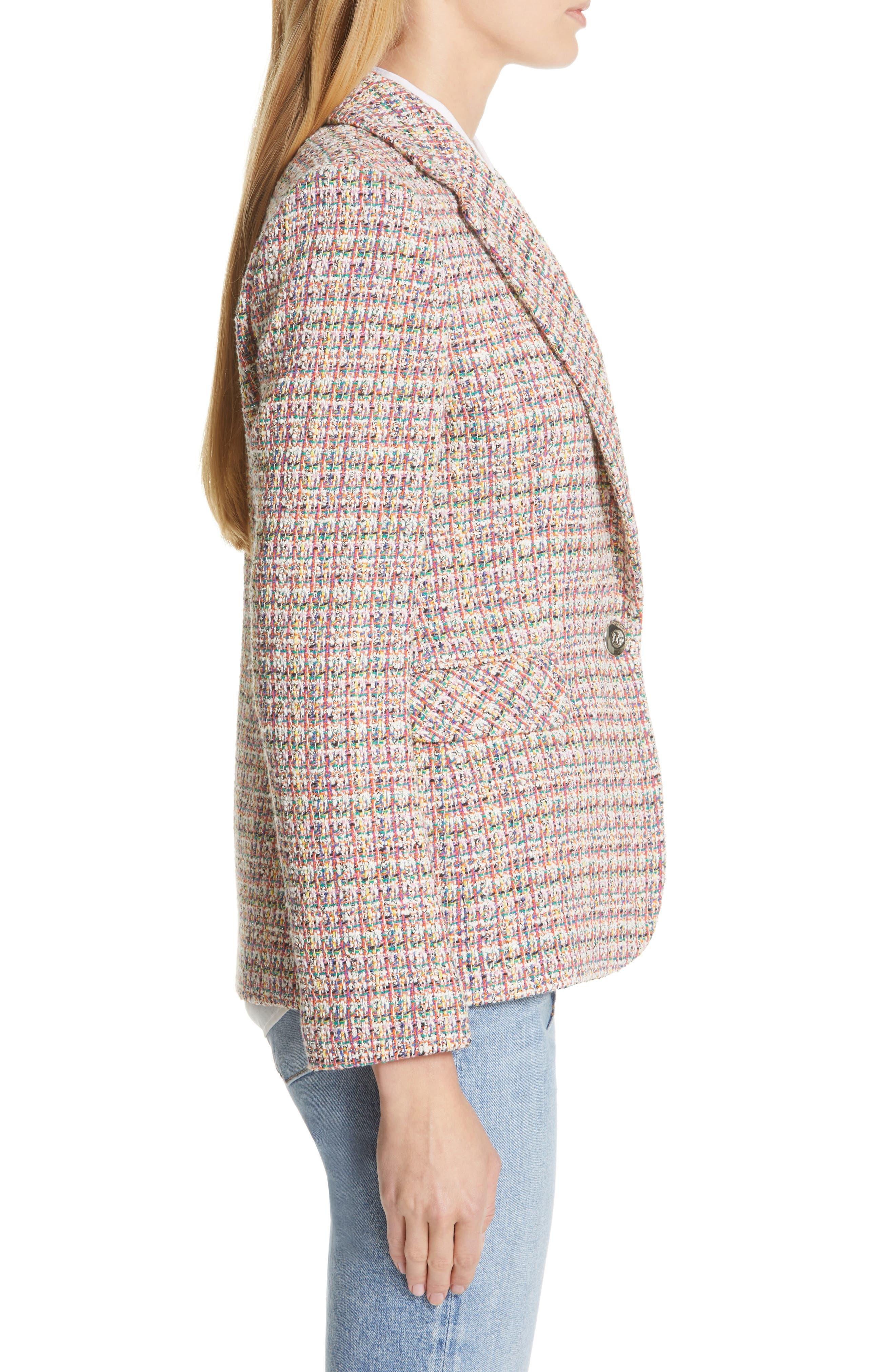 HELENE BERMAN, Colorful Tweed Blazer, Alternate thumbnail 3, color, ORANGE
