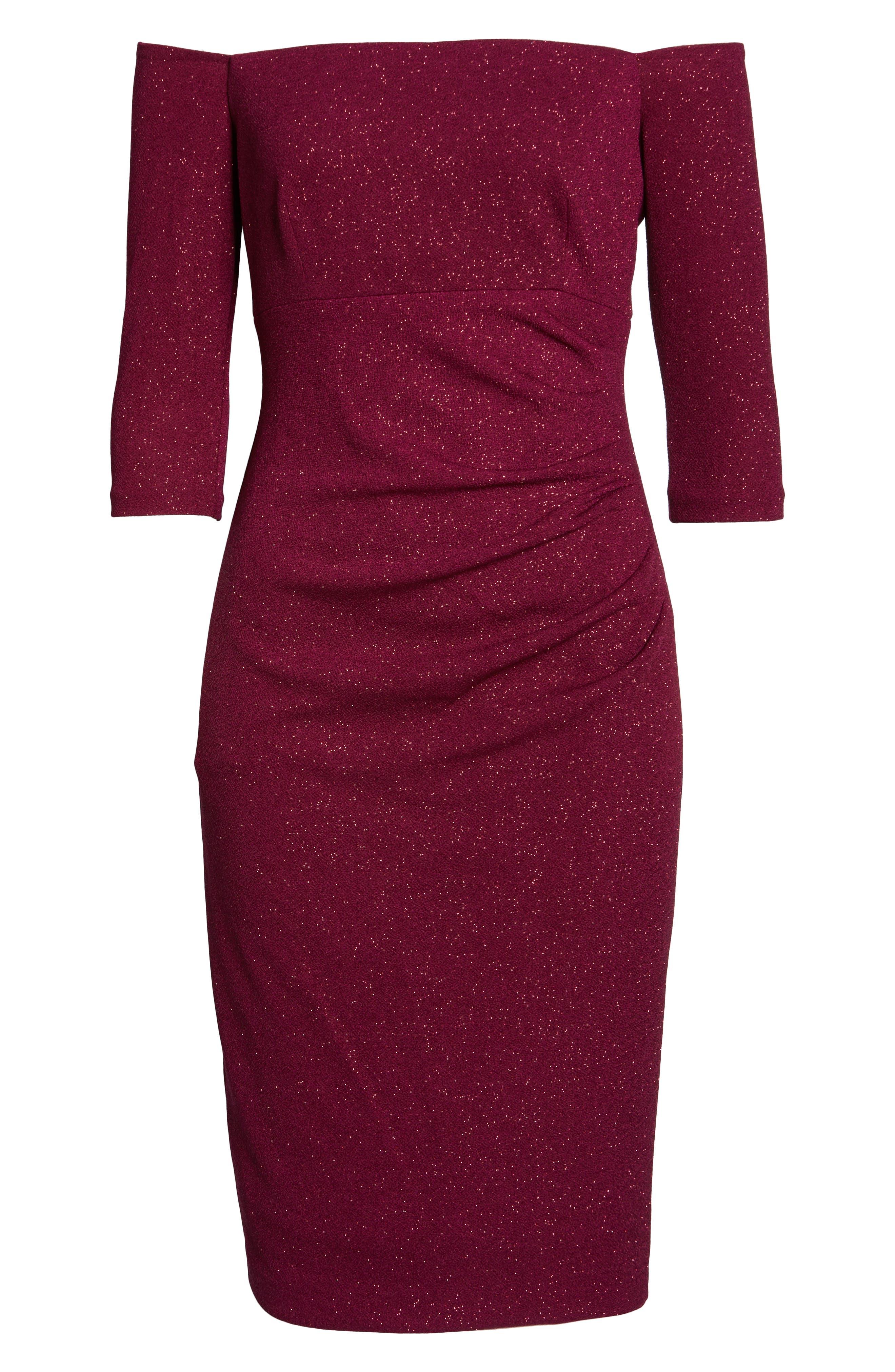 ELIZA J, Off the Shoulder Sheath Dress, Alternate thumbnail 7, color, WINE