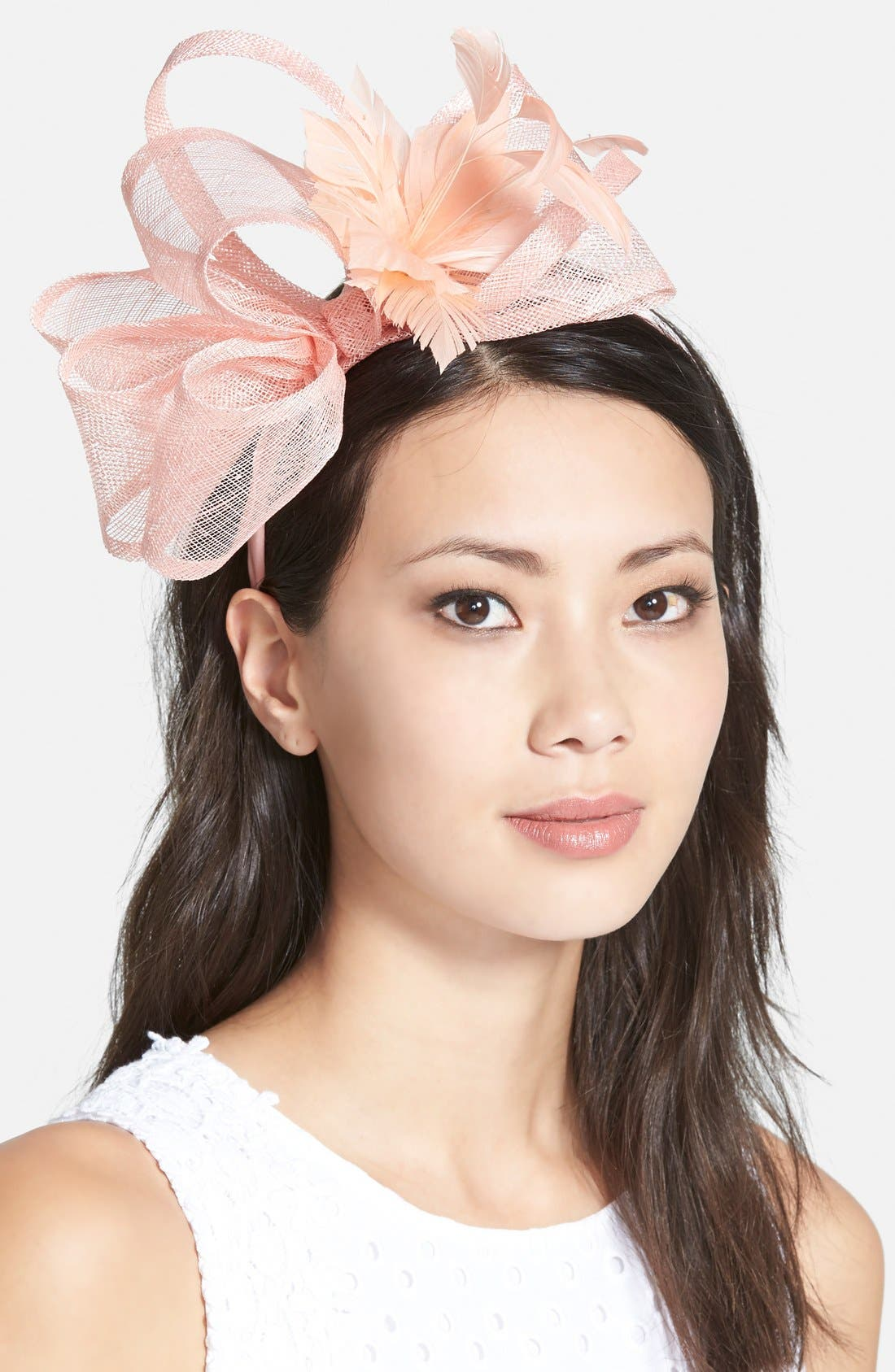 AUGUST HAT, Straw Fascinator, Main thumbnail 1, color, 650