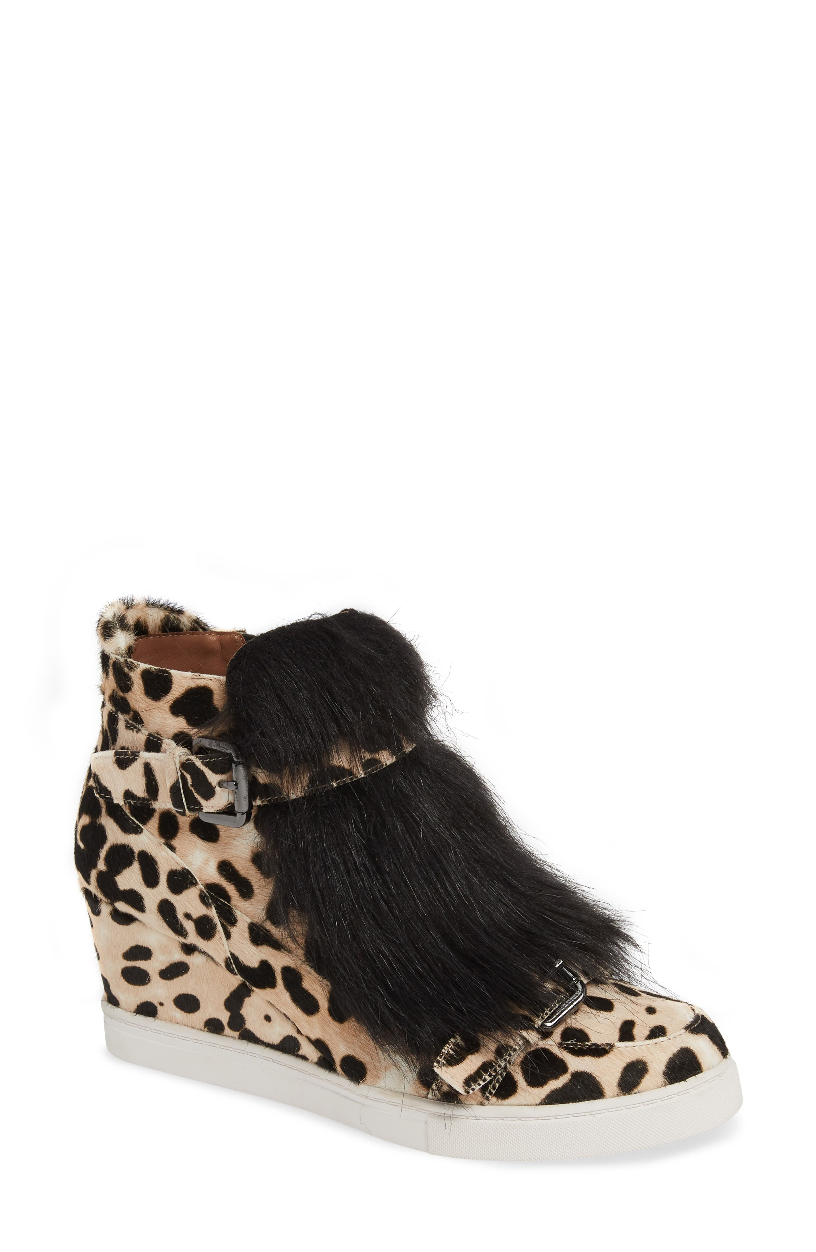 LINEA PAOLO, Fifi 2 Wedge Sneaker, Main thumbnail 1, color, WHITE/ BLACK LEOPARD HAIRCALF