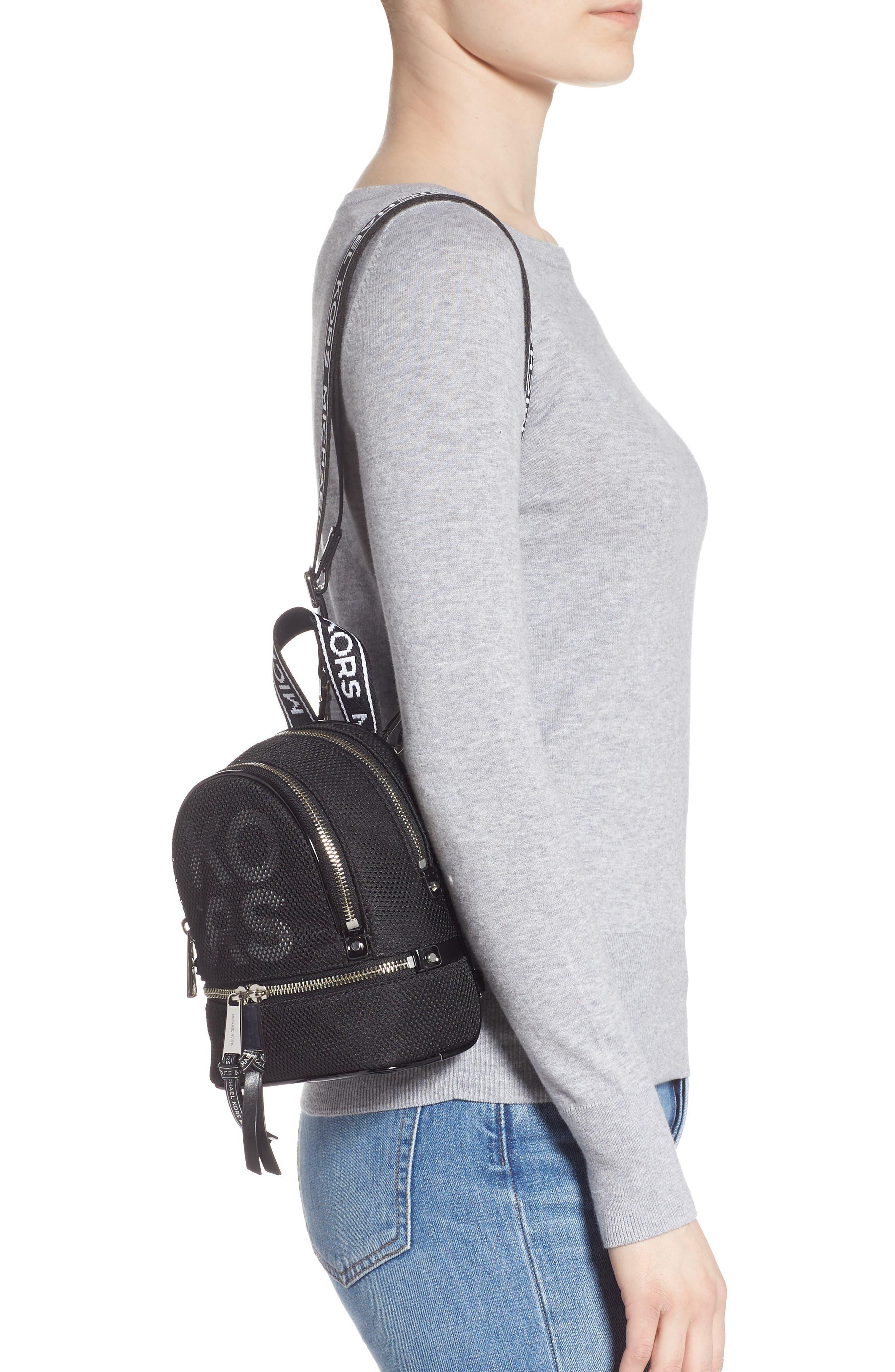 MICHAEL MICHAEL KORS, Extra Small Rhea Mesh Backpack, Alternate thumbnail 3, color, BLACK/ OPTIC WHITE