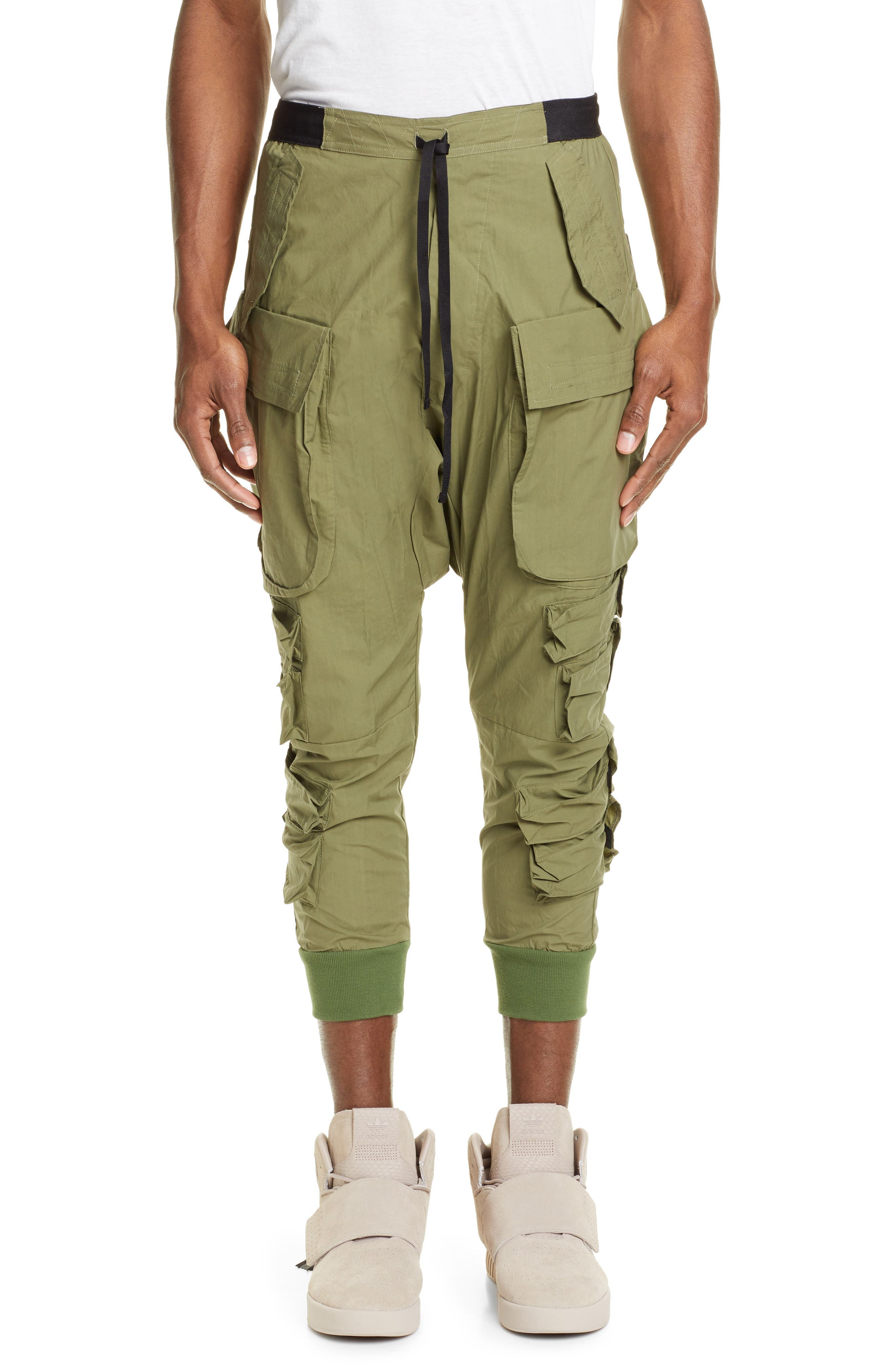 Unravel Project Cotton Cargo Jogger Pants, Green