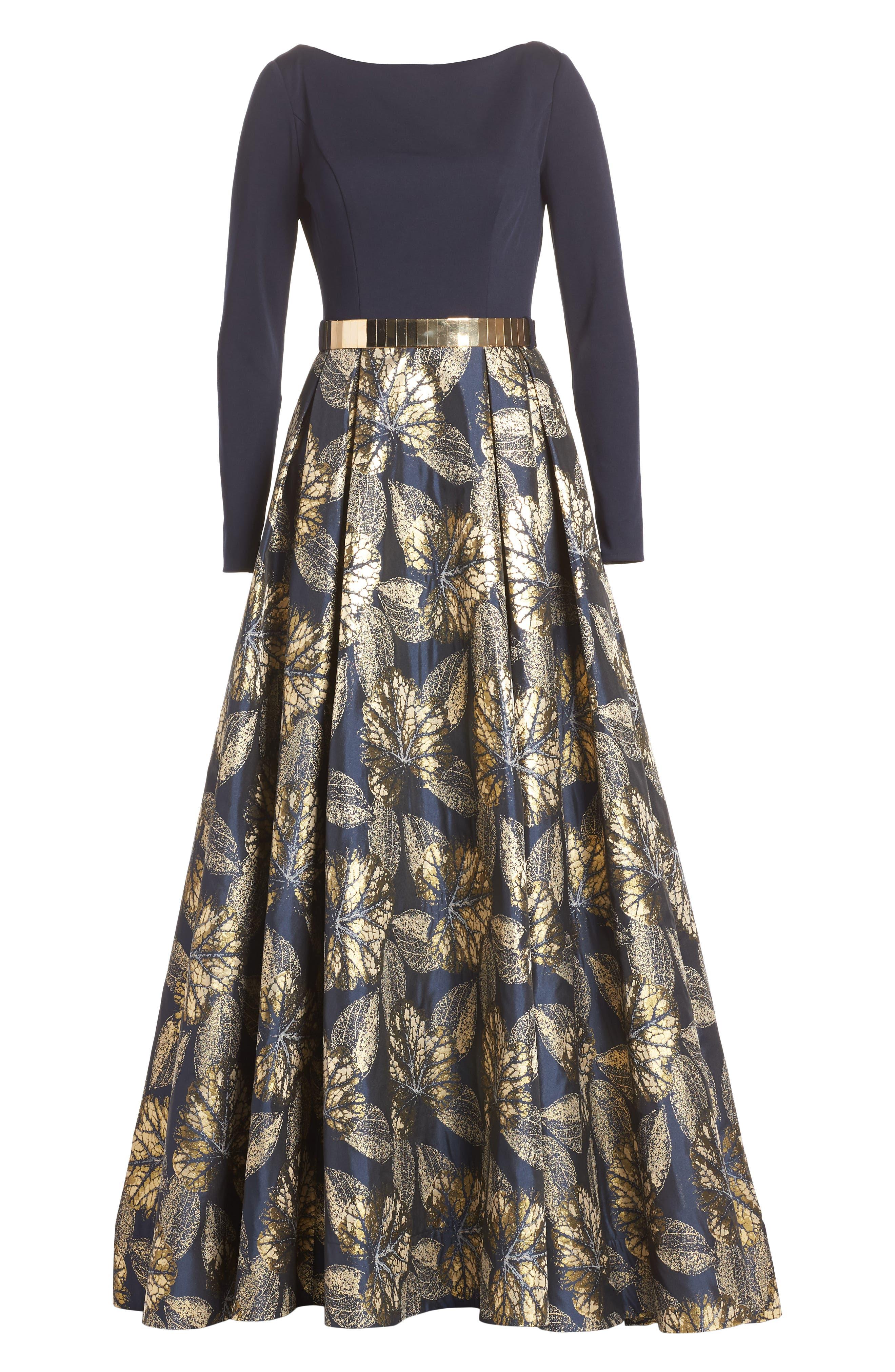IEENA FOR MAC DUGGAL, Mac Duggal Long Sleeve Metallic Waist Print Gown, Alternate thumbnail 6, color, NAVY GOLD