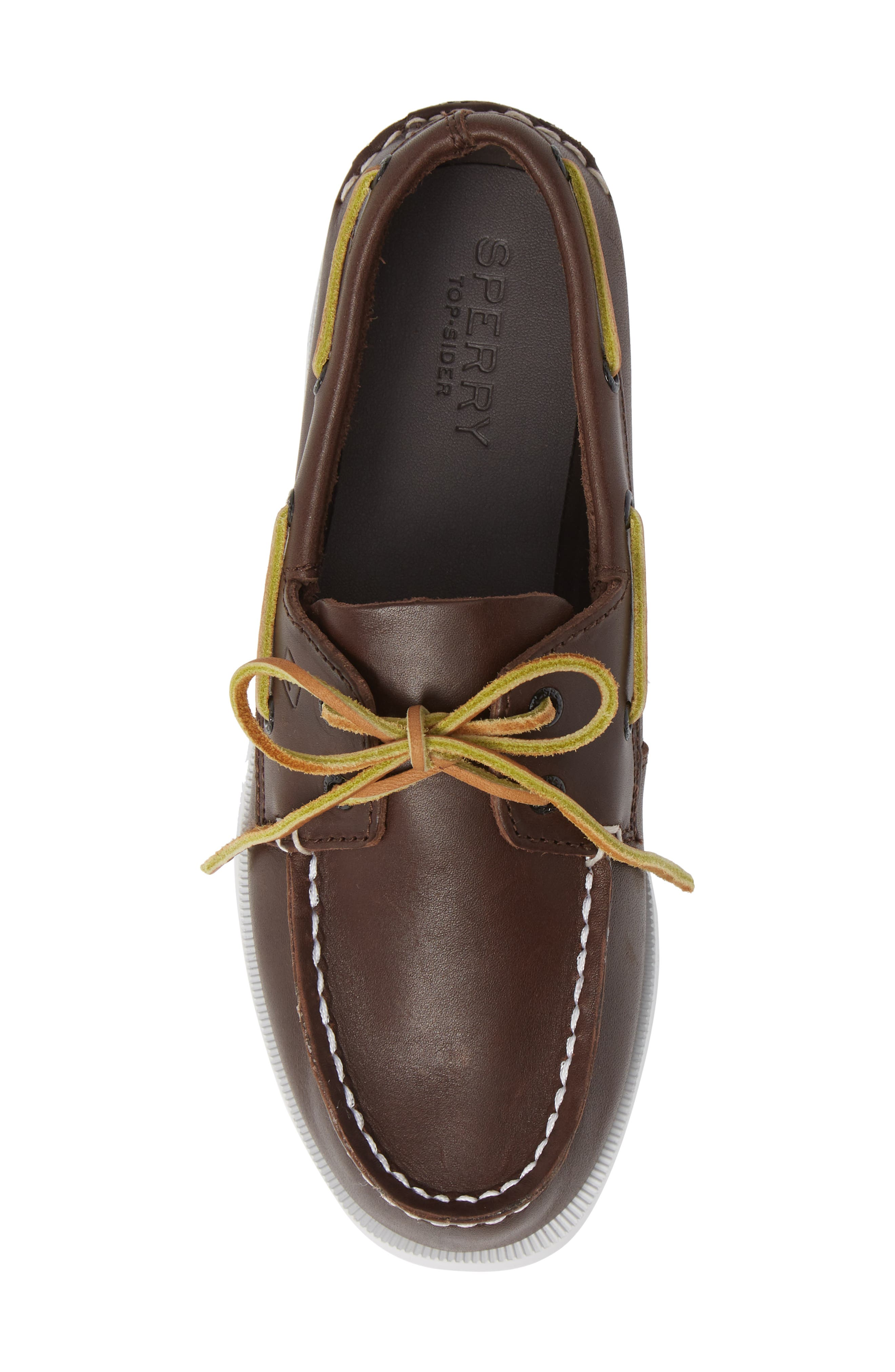 SPERRY KIDS, 'Authentic Original' Boat Shoe, Alternate thumbnail 6, color, BROWN LEATHER