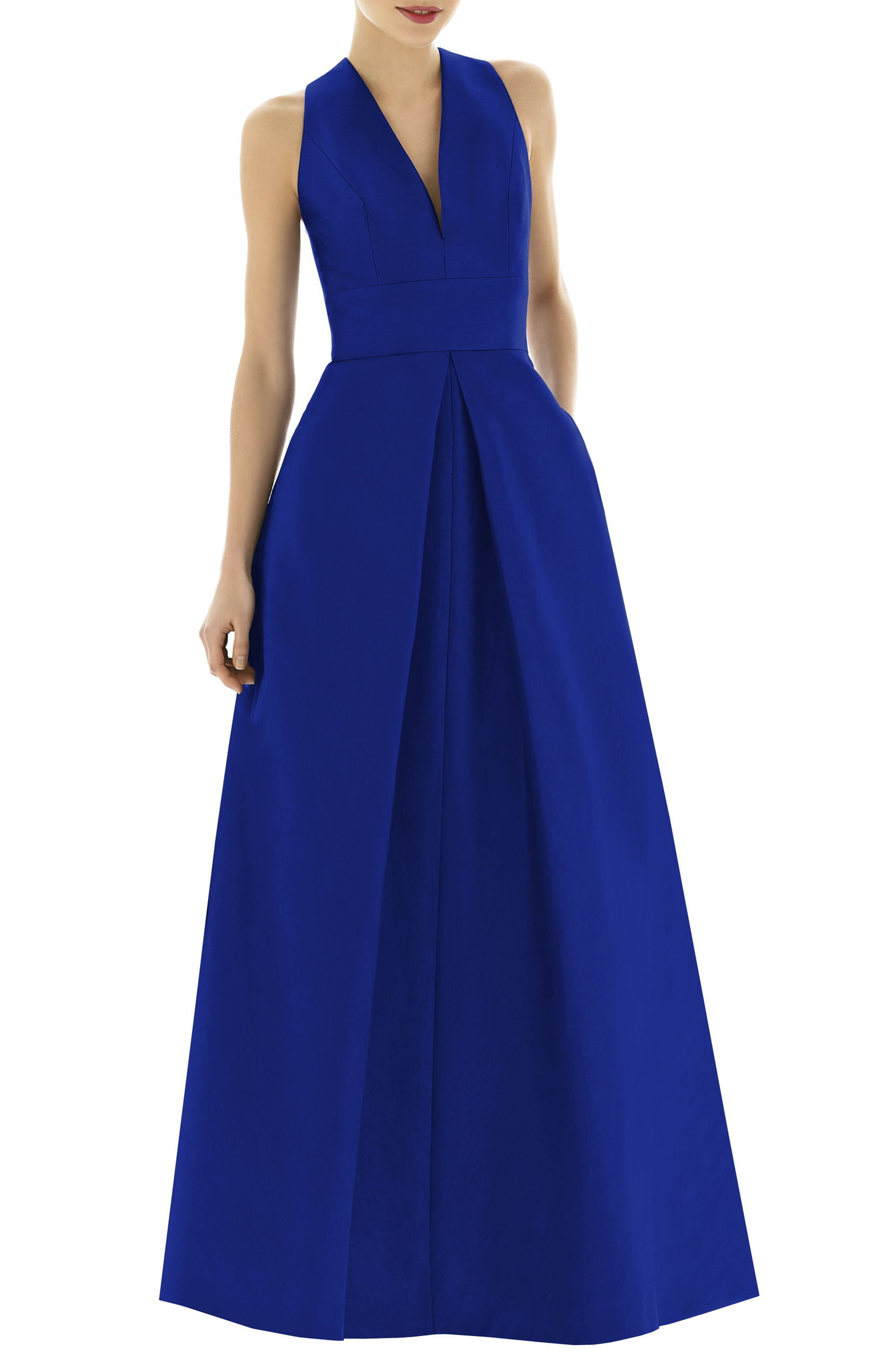 Alfred Sung V-Neck Dupioni Evening Gown, Blue