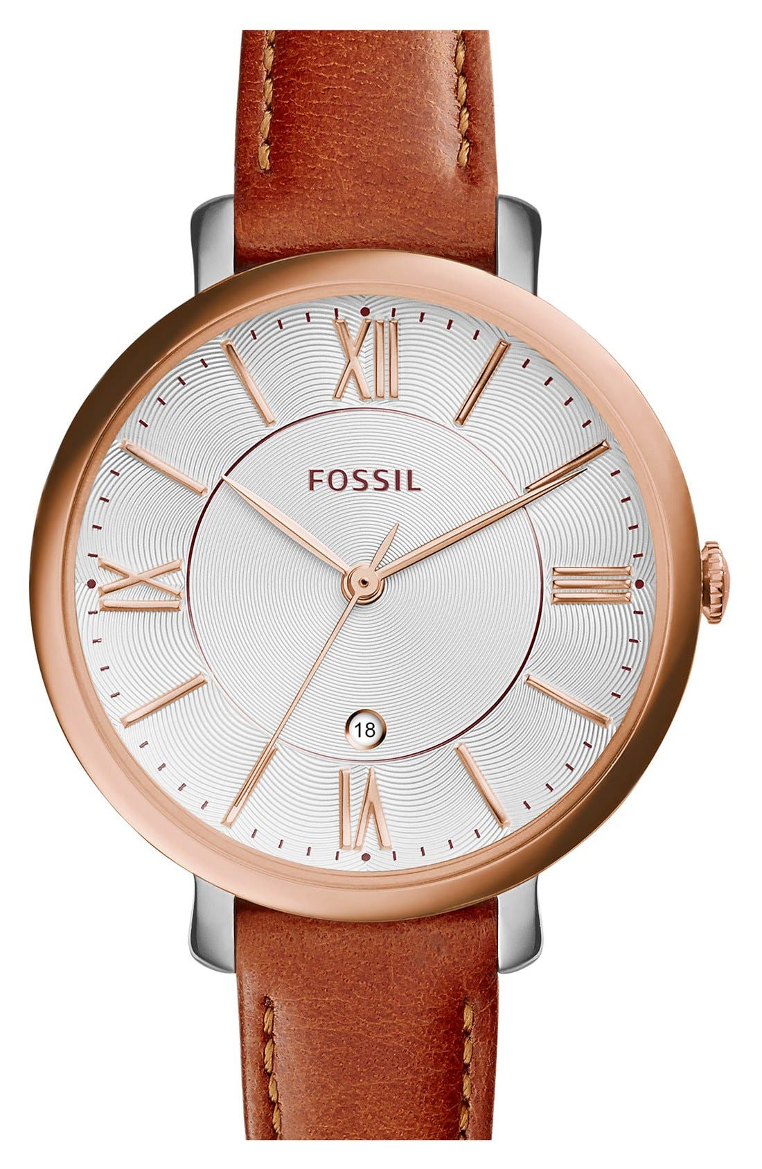 FOSSIL, 'Jacqueline' Round Leather Strap Watch, 36mm, Main thumbnail 1, color, BROWN/ ROSE GOLD