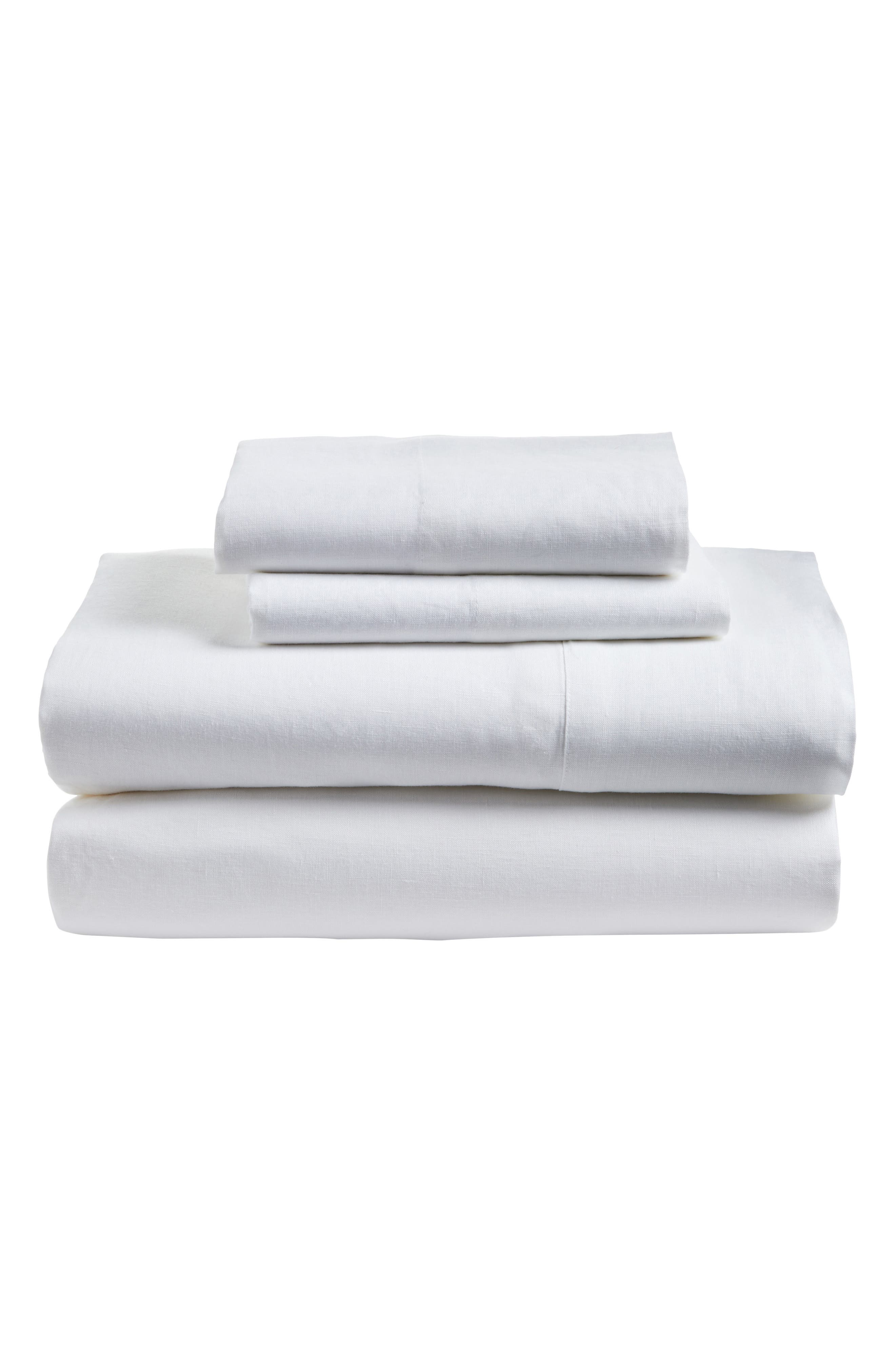 POM POM AT HOME, Linen Sheet Set, Main thumbnail 1, color, WHITE