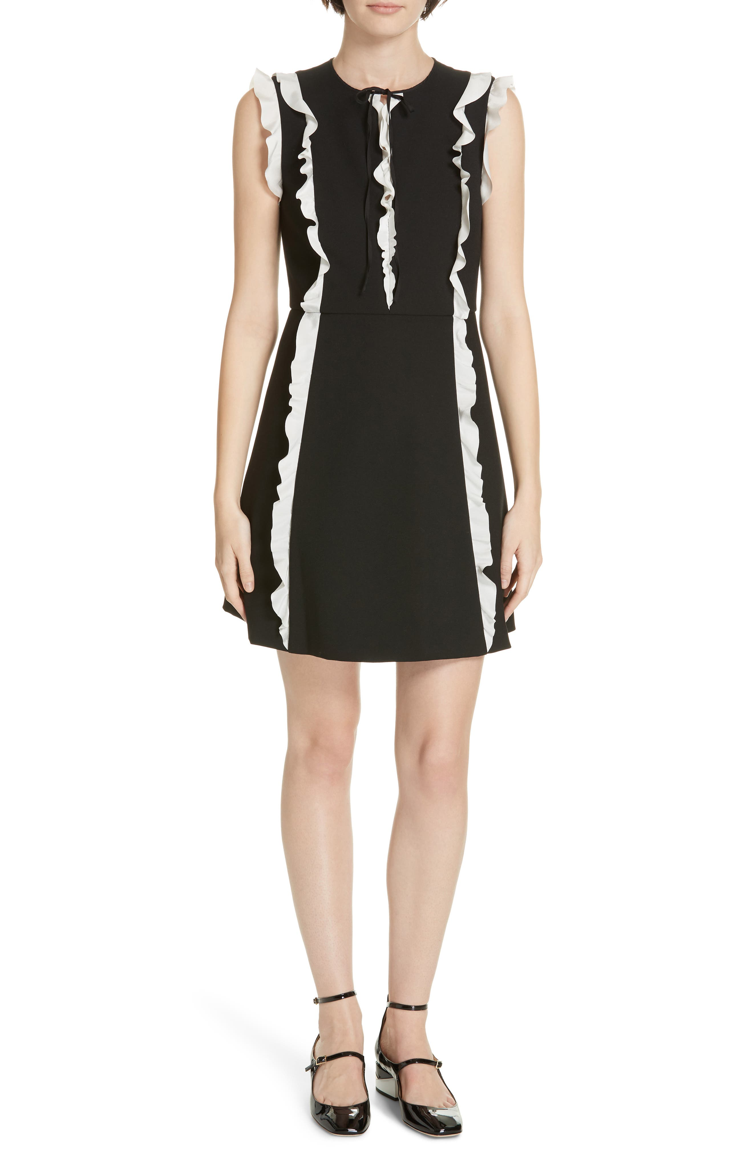 Red Valentino Contrast Ruffle A-Line Dress, US / 40 IT - Black