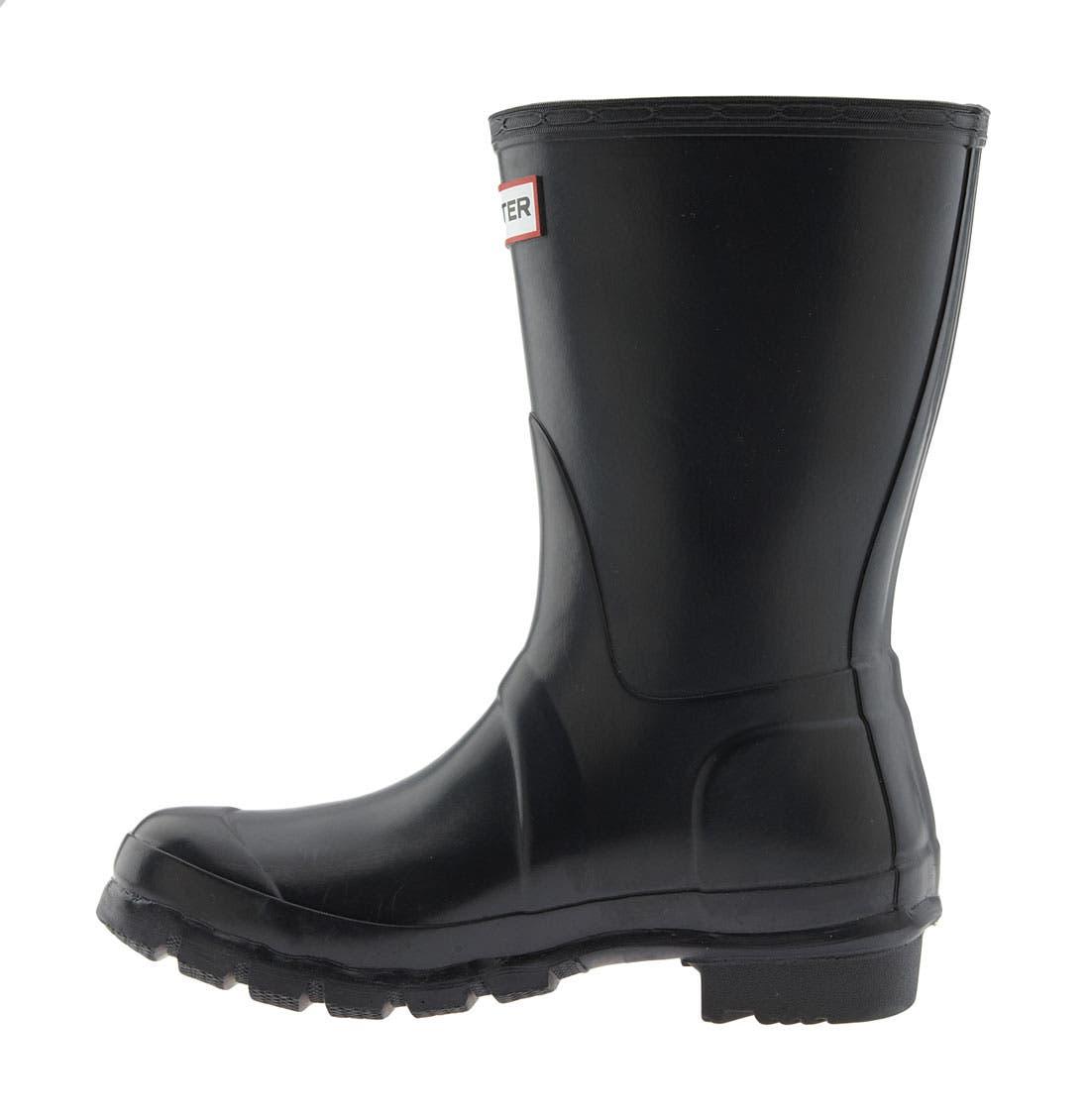 HUNTER, Original Short Gloss Waterproof Rain Boot, Alternate thumbnail 2, color, BLACK