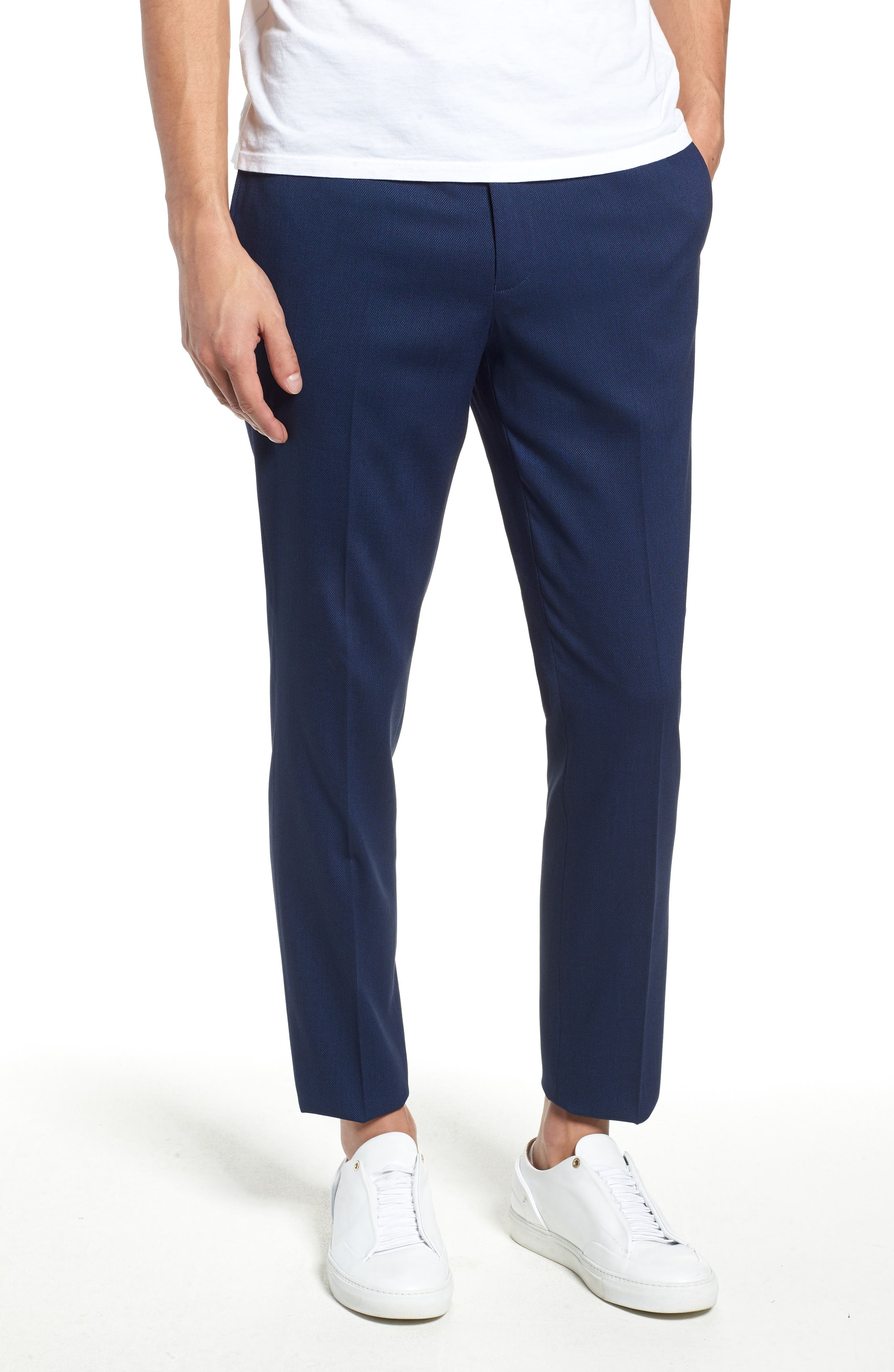TOPMAN, Skinny Fit Suit Pants, Main thumbnail 1, color, MID BLUE