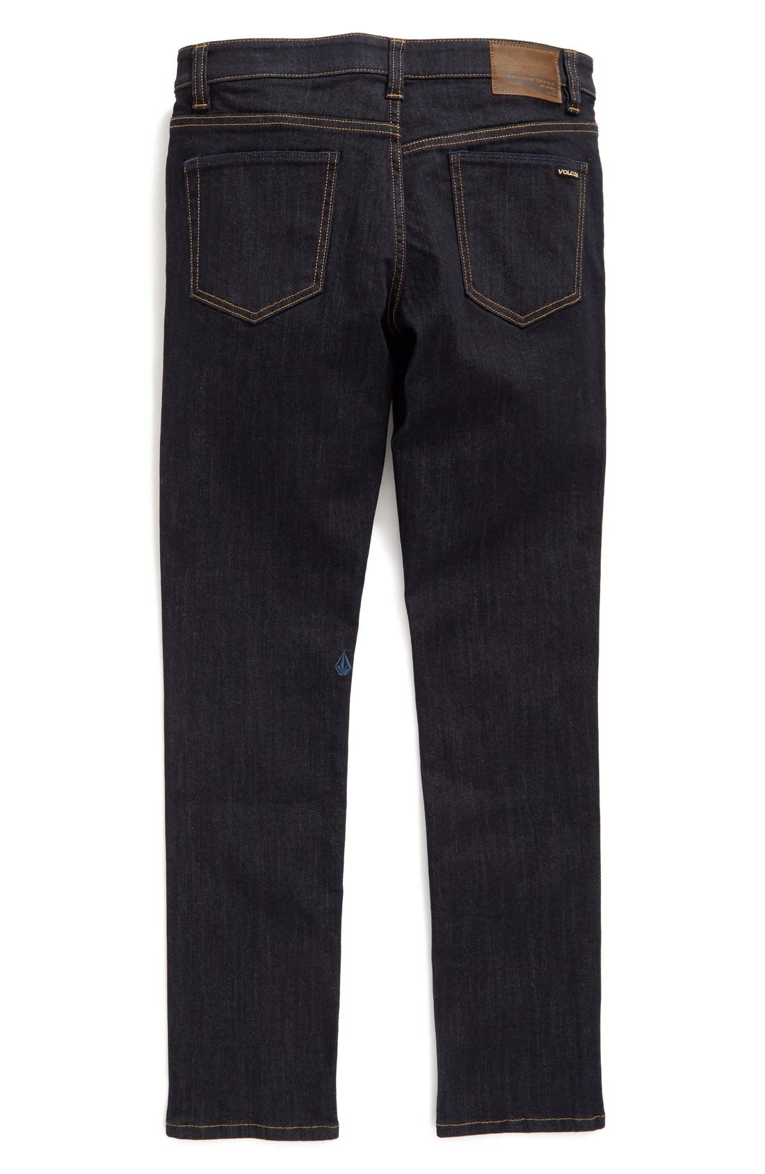VOLCOM, 'Solver' Straight Leg Denim Jeans, Alternate thumbnail 2, color, BLUE RINSE