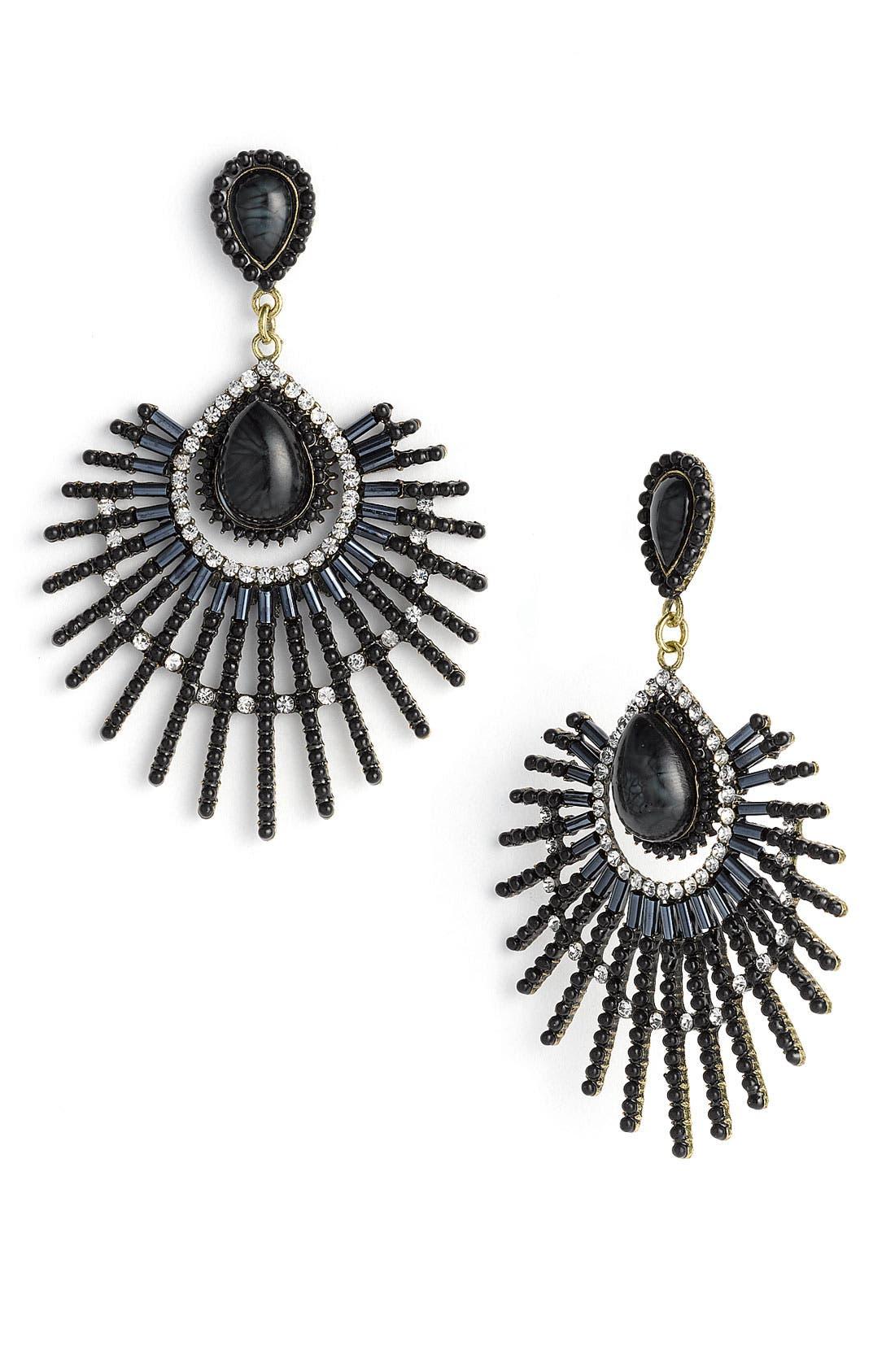 GUINEVERE, Large Crystal Drop Earrings, Main thumbnail 1, color, 002