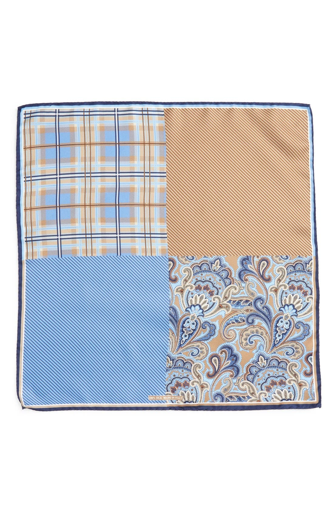 NORDSTROM MEN'S SHOP, Three Panel Silk Pocket Square, Alternate thumbnail 2, color, BROWN/BLUE