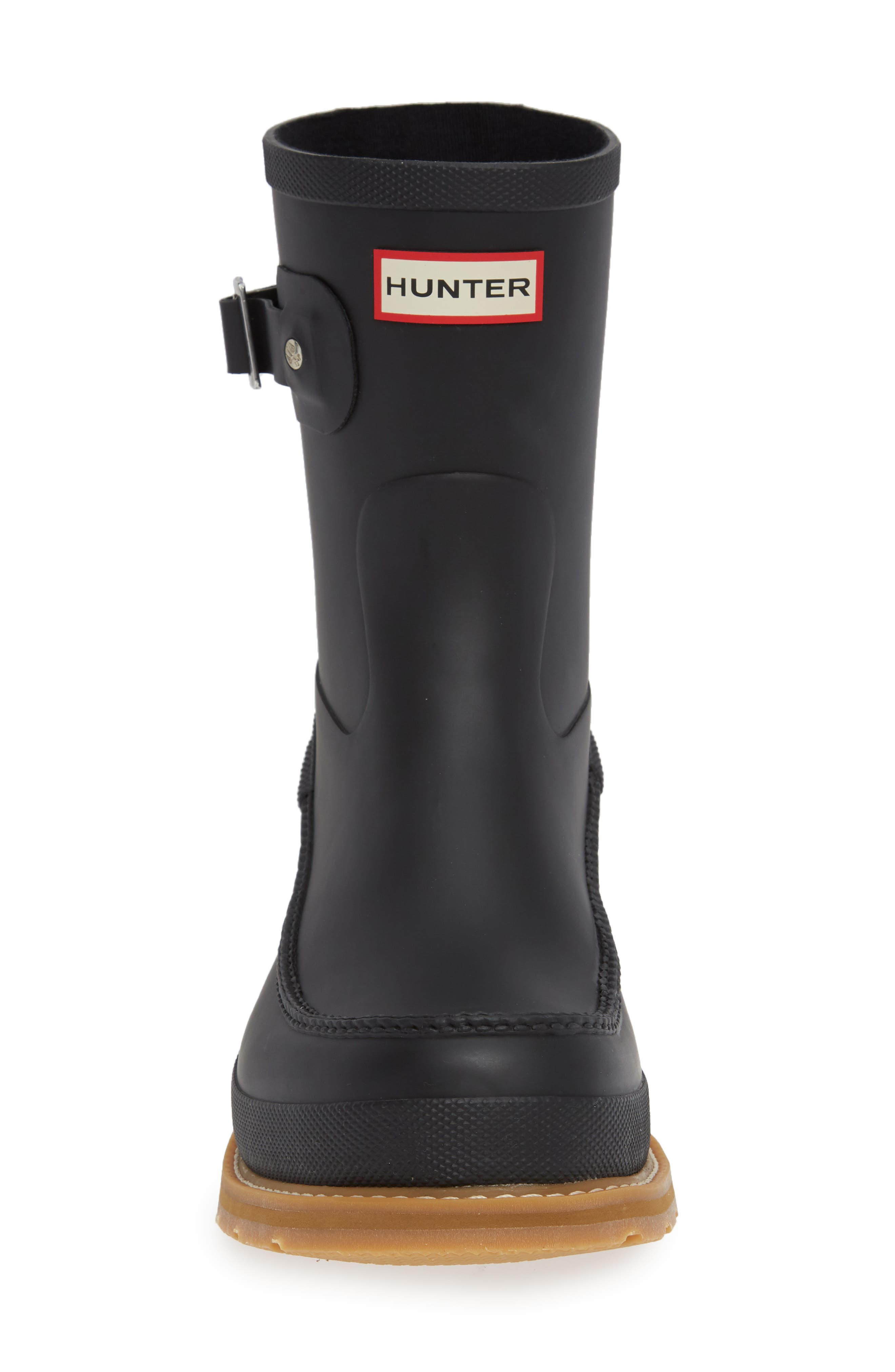 HUNTER, Waterproof Lightweight Short Boot, Alternate thumbnail 4, color, BLACK