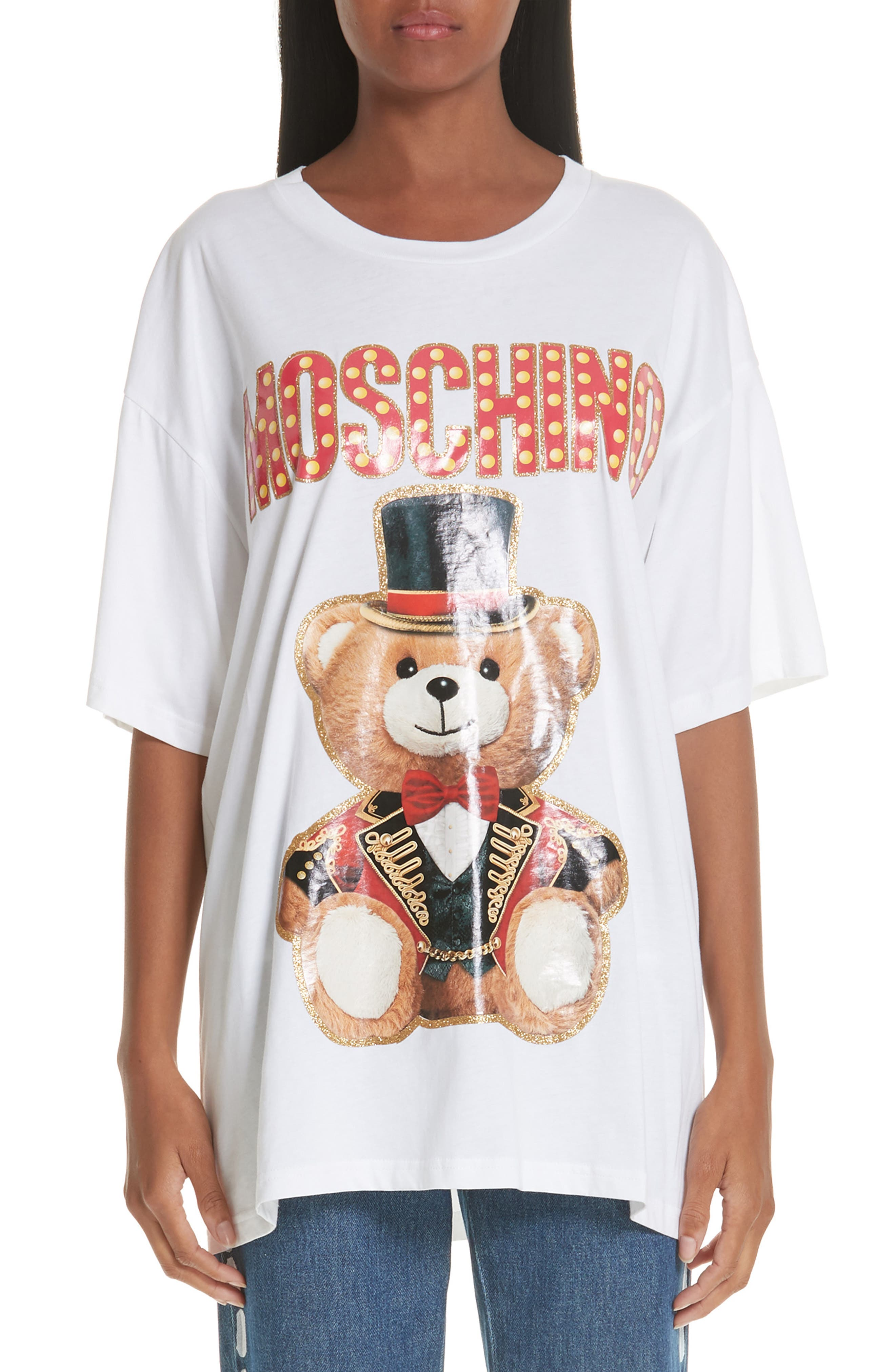 MOSCHINO Circus Teddy Oversize Tee, Main, color, WHITE