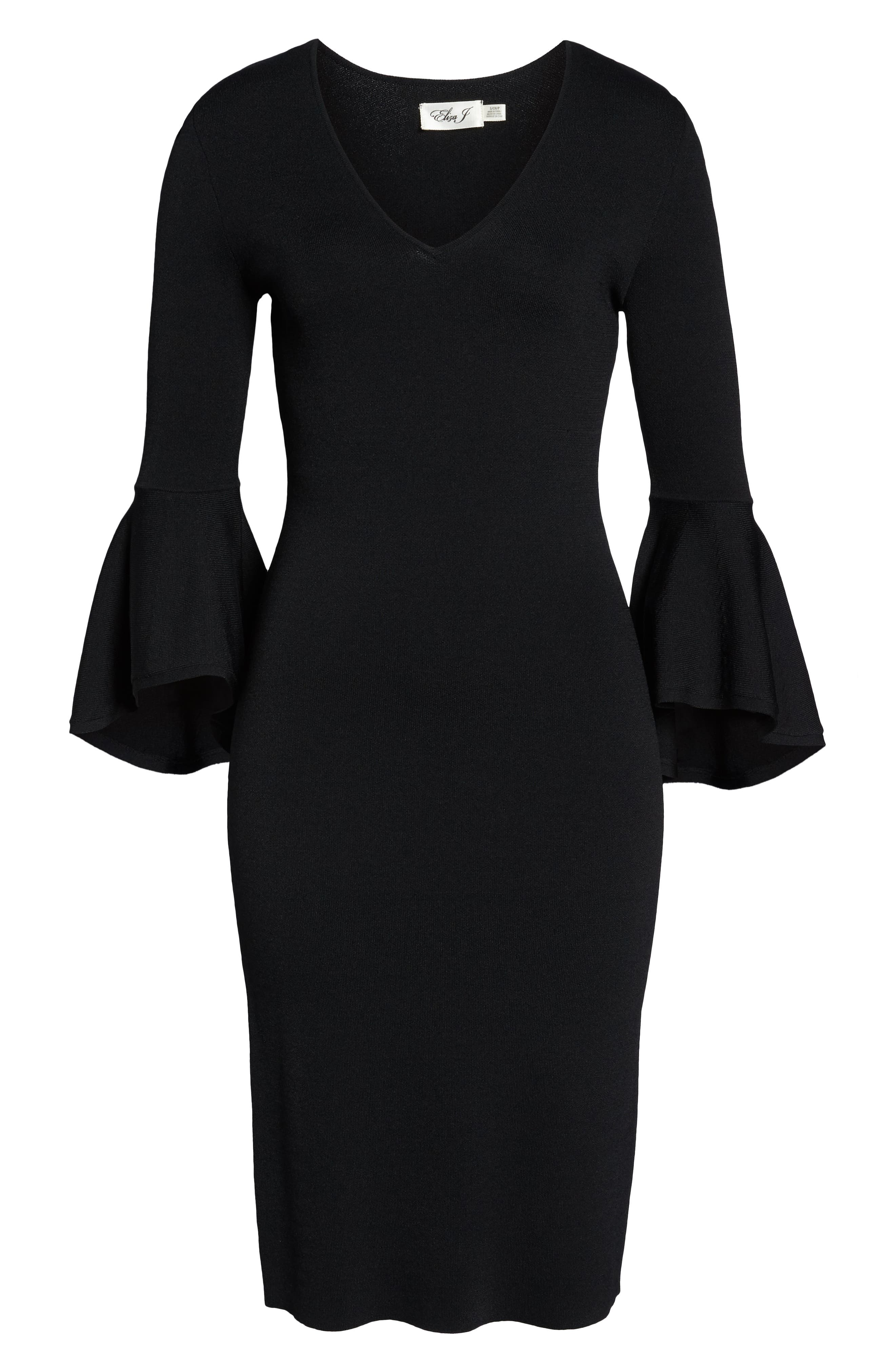 ELIZA J, Bell Sleeve Sheath Dress, Alternate thumbnail 7, color, BLACK