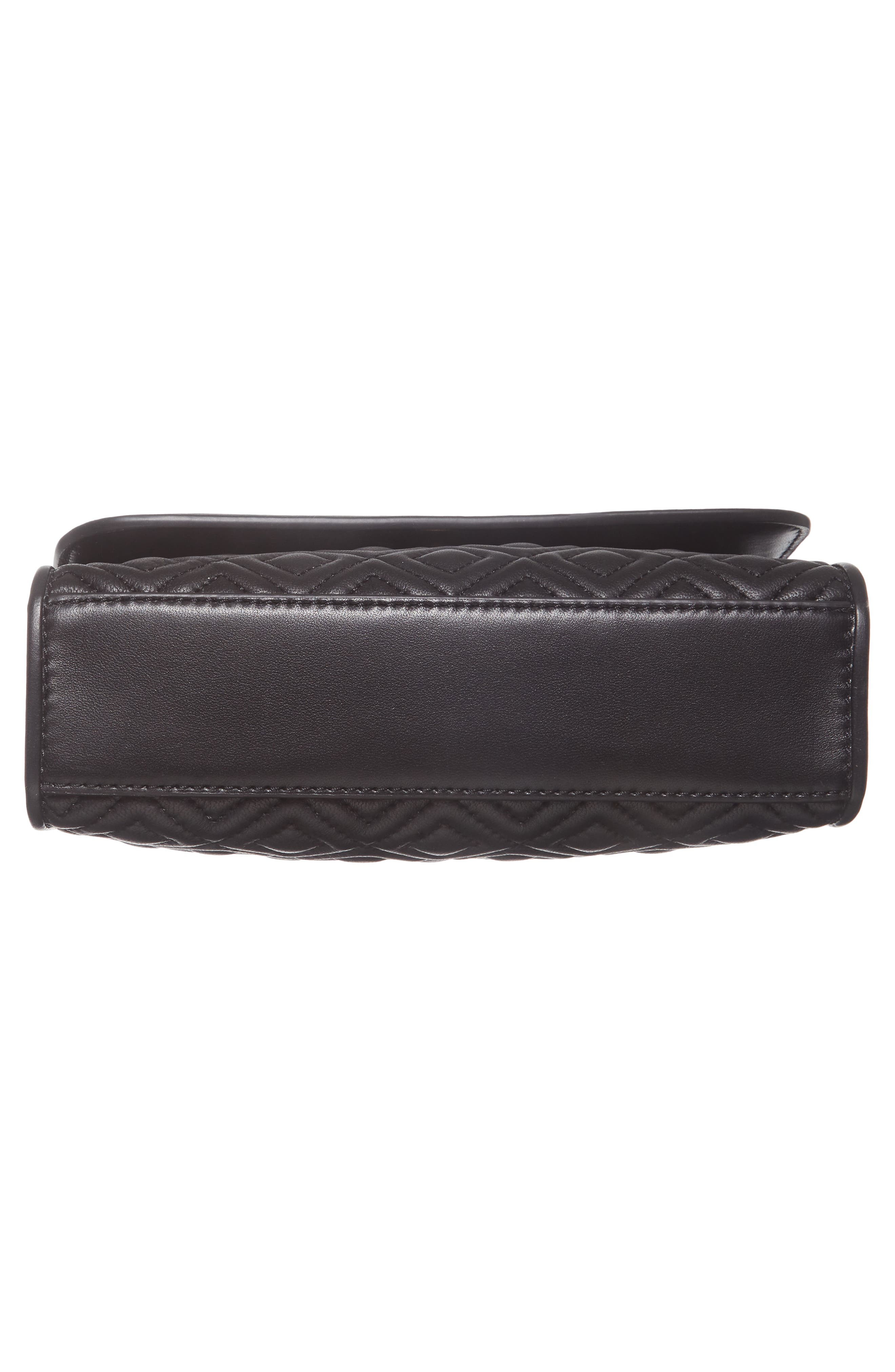 TORY BURCH, Small Fleming Leather Convertible Shoulder Bag, Alternate thumbnail 7, color, BLACK