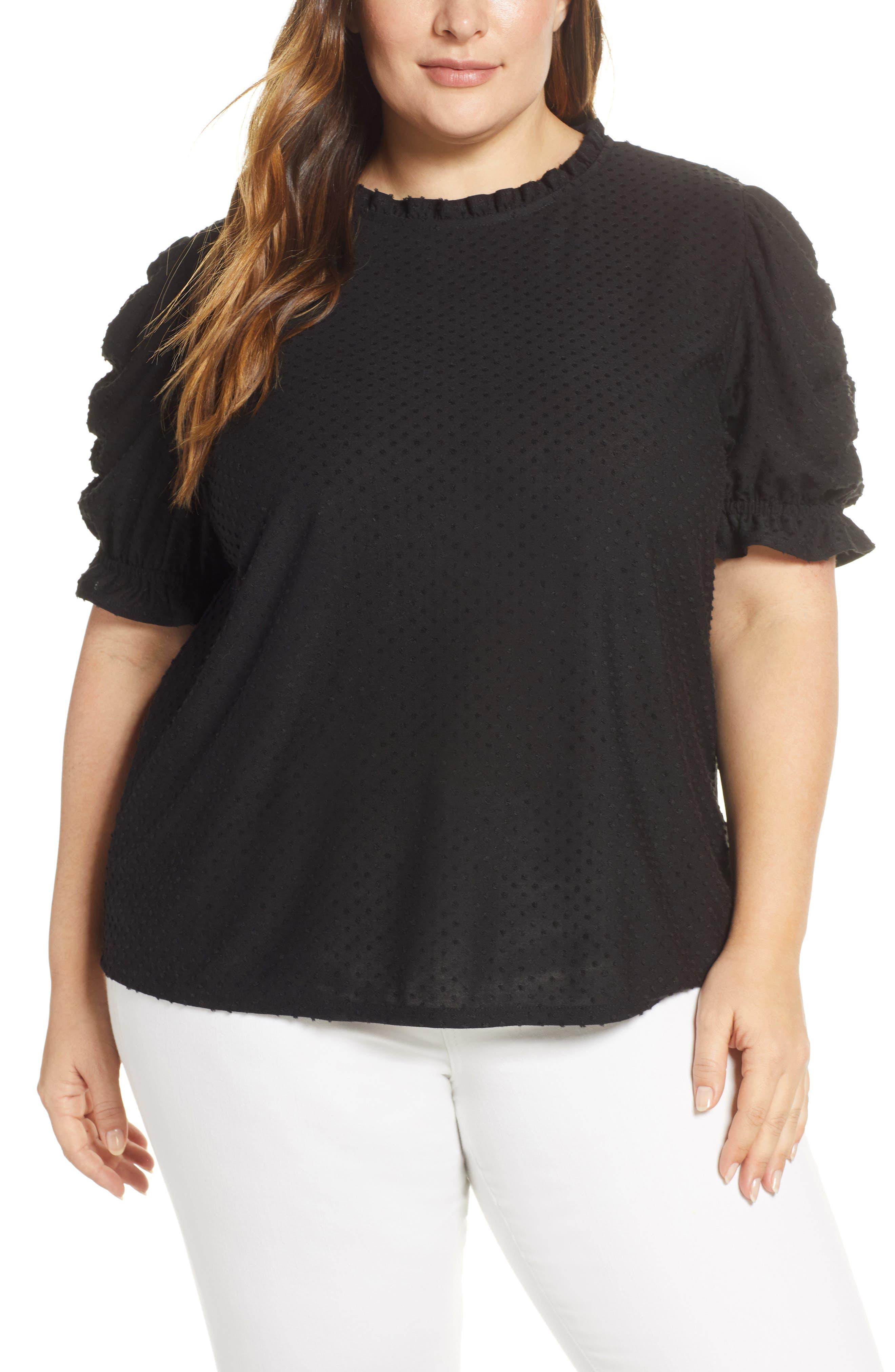 GIBSON, x International Women's Day Rebecca Clip Dot Ruffle Sleeve Blouse, Main thumbnail 1, color, CHARCOAL