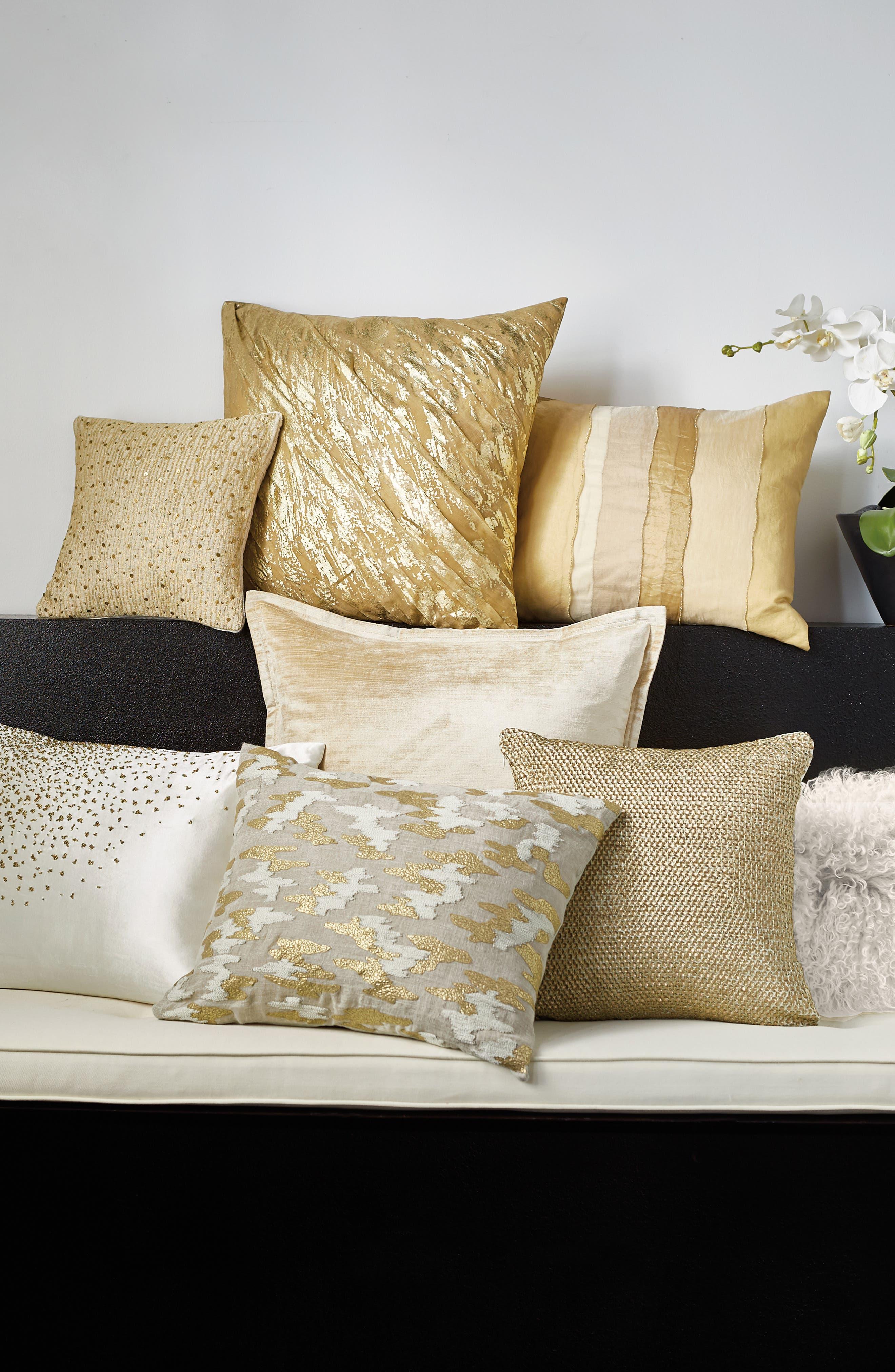 DONNA KARAN NEW YORK, Gilded Sheer Layered Accent Pillow, Alternate thumbnail 2, color, GOLD