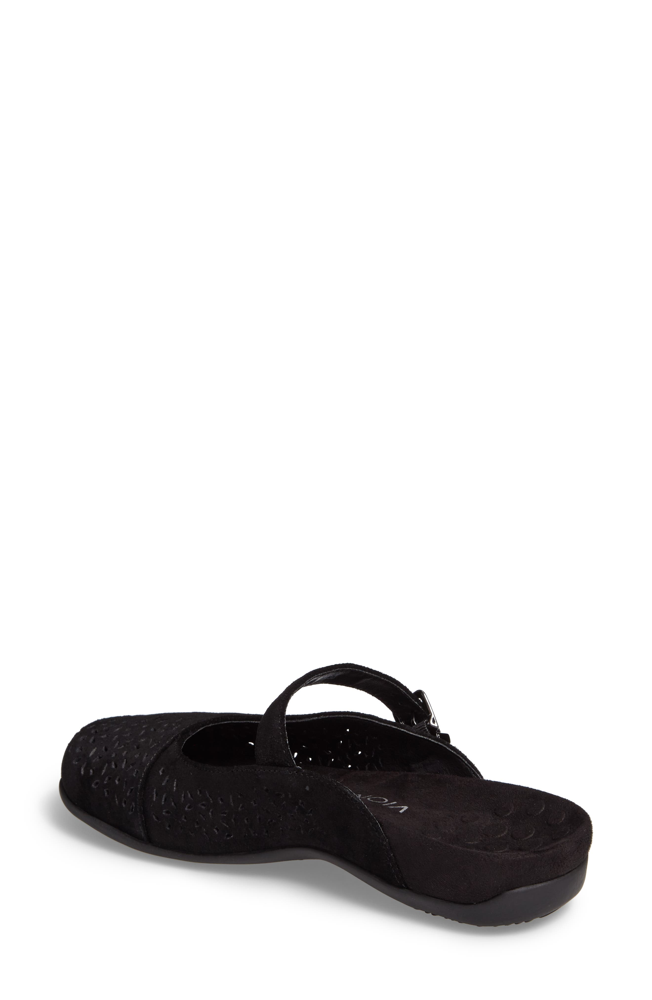 VIONIC, Rest Lidia Perforated Mary Jane Mule, Alternate thumbnail 2, color, BLACK SUEDE