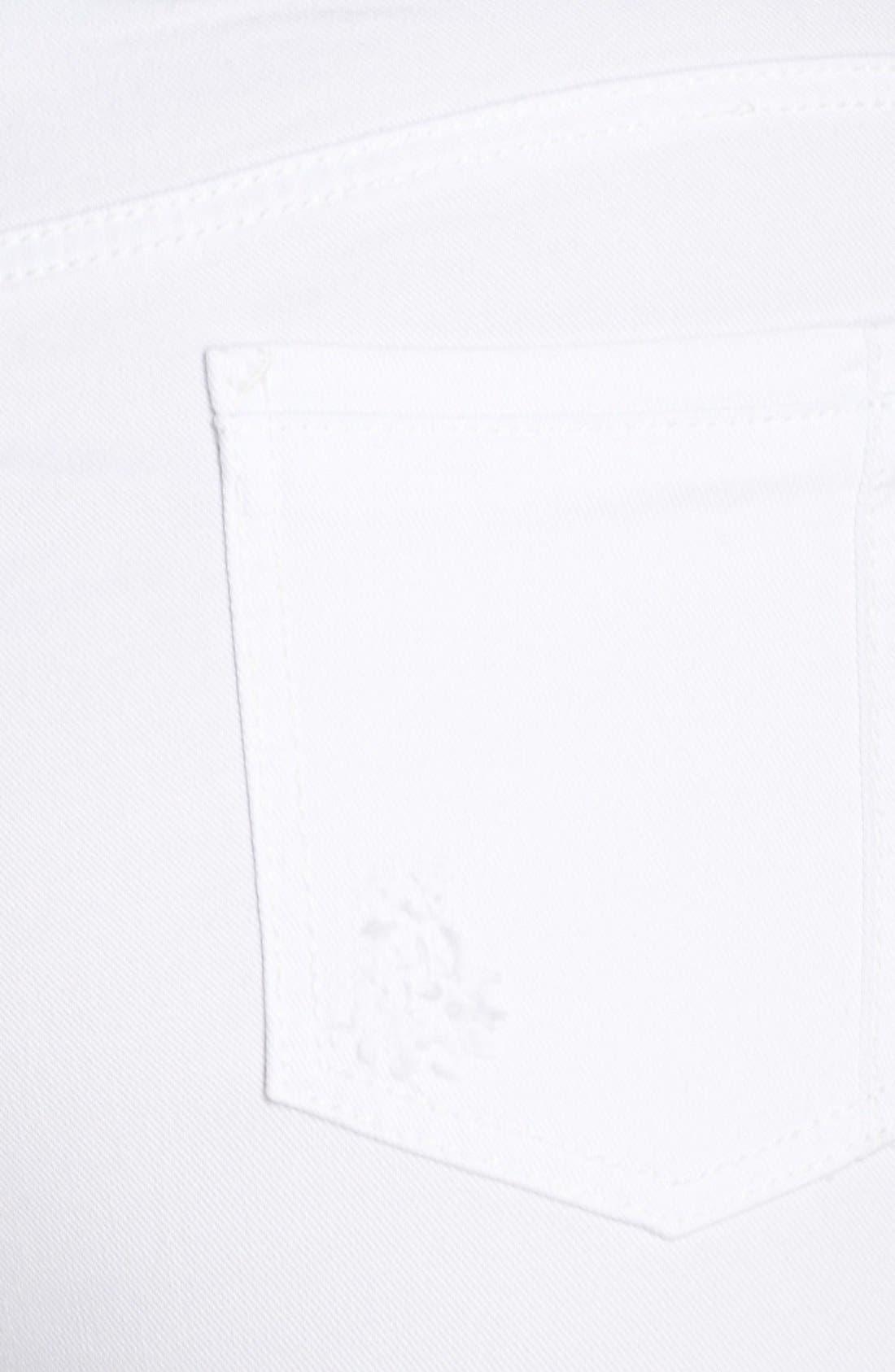POETIC JUSTICE, 'Maya' Destroyed White Skinny Jeans, Alternate thumbnail 3, color, CASPER