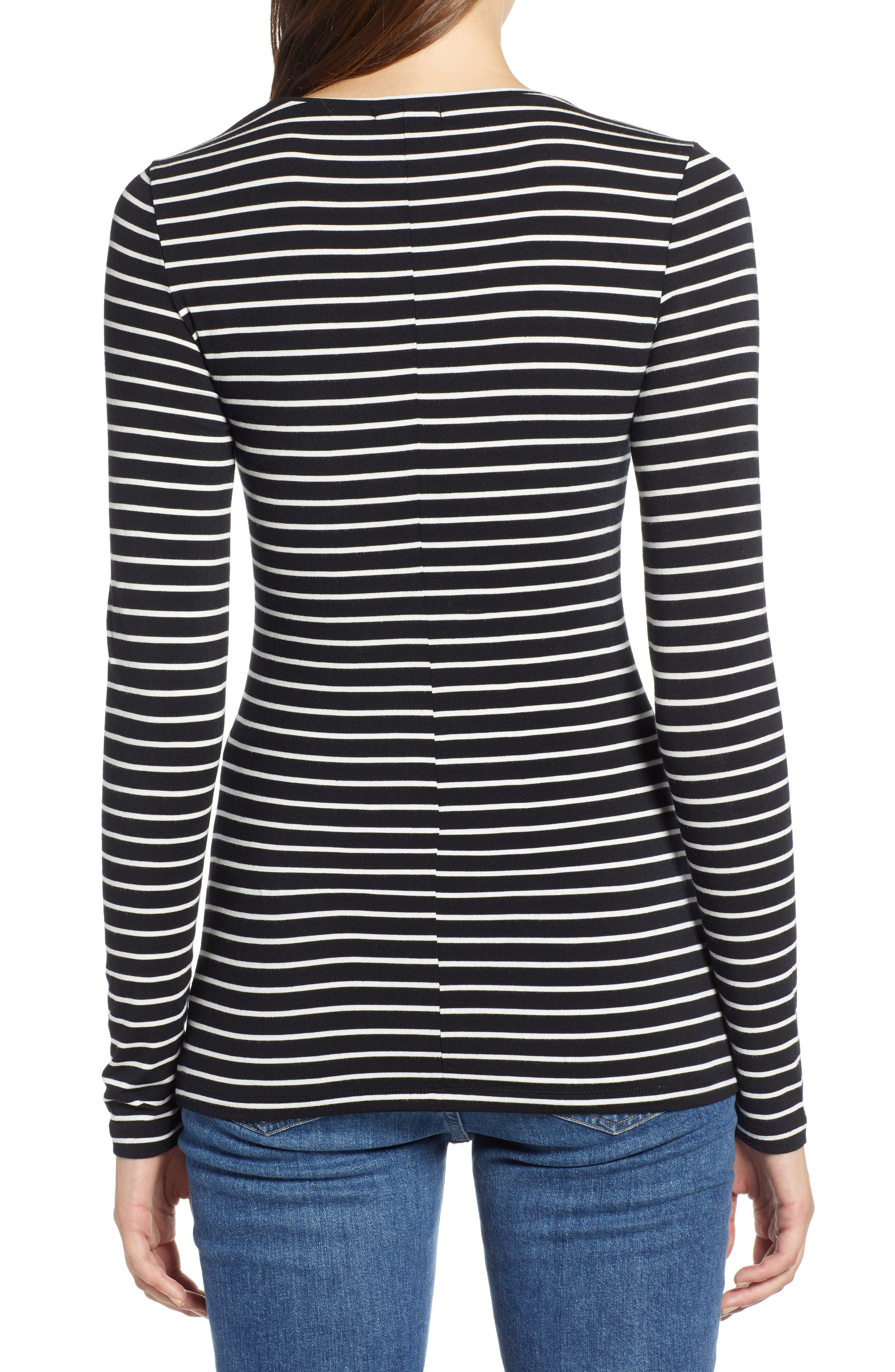 HALOGEN<SUP>®</SUP>, Long Sleeve Modal Blend Tee, Alternate thumbnail 2, color, BLACK- IVORY ASHLEY STRIPE