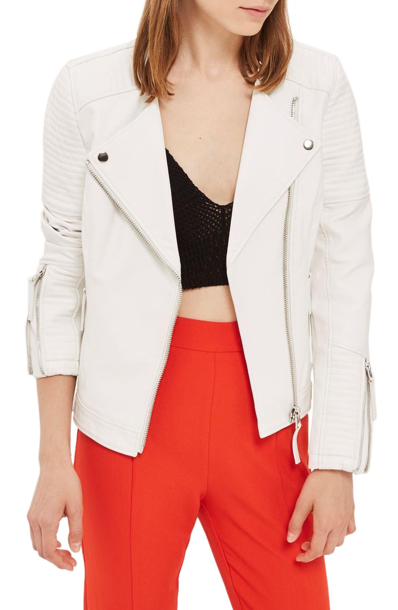 TOPSHOP, Luna Faux Leather Biker Jacket, Main thumbnail 1, color, 100