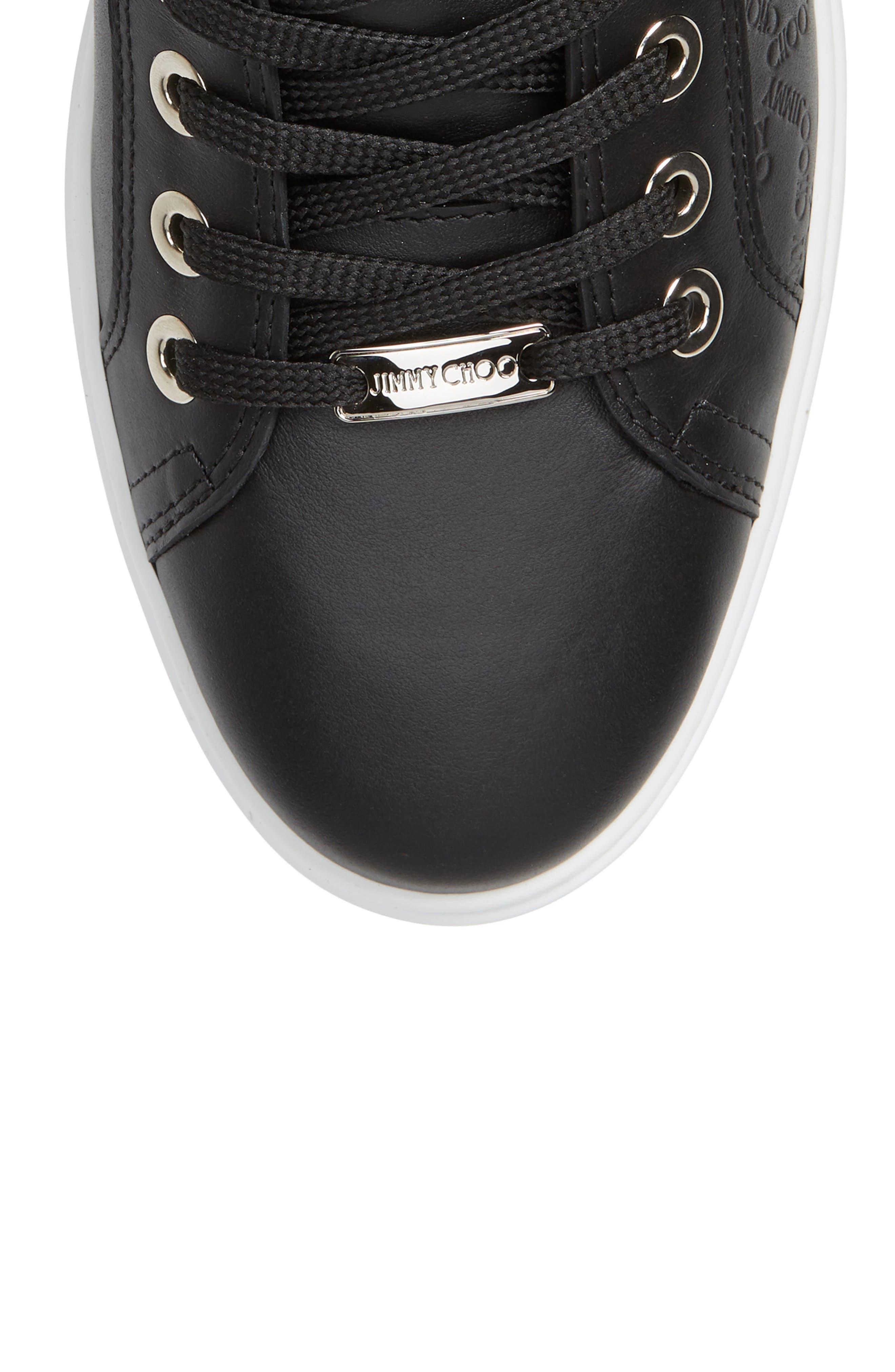 JIMMY CHOO, Colt High Top Sneaker, Alternate thumbnail 5, color, BLACK