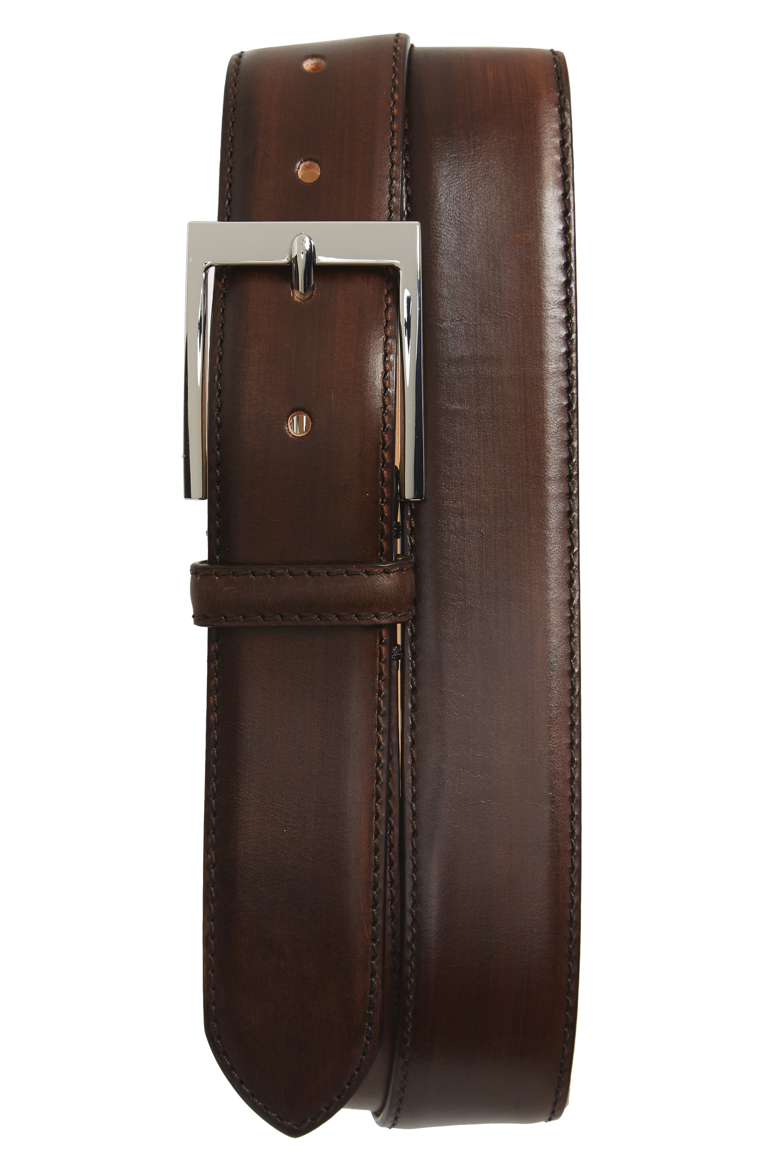 TO BOOT NEW YORK, Leather Belt, Main thumbnail 1, color, BROWN